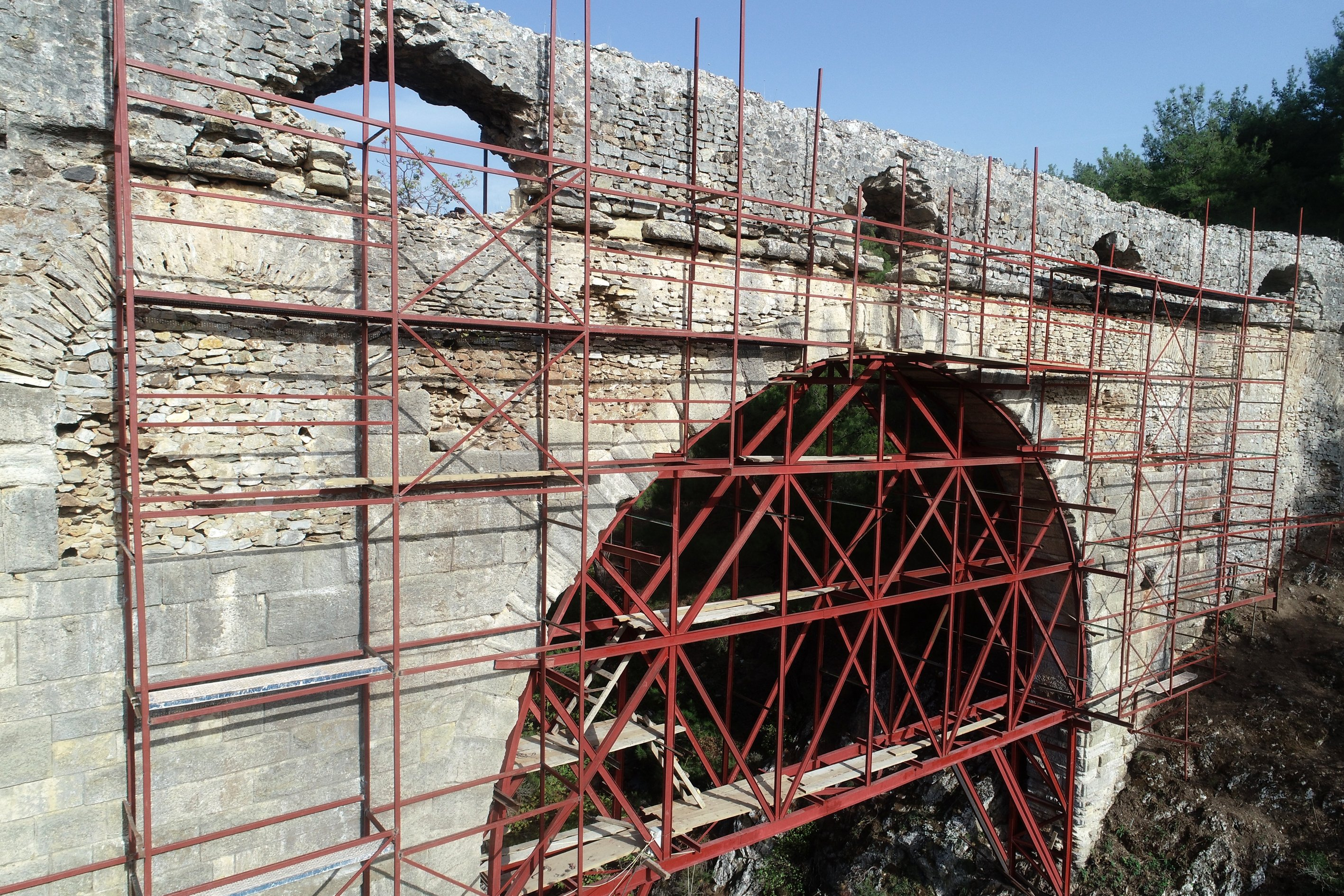 Missing and damaged parts of the aqueduct are being repaired and rebuilt while staying faithful to the original structure, Jan. 7, 2021. (AA Photo)