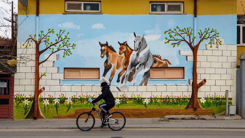 Street art on one of the streets of Aksaray, central Turkey. (Photo by Argun Konuk)