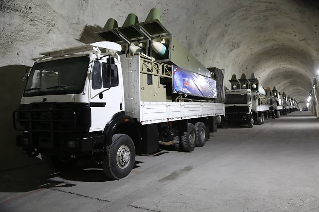Noor anti-ship missiles are seen on display during the inauguration of an underground missile base at an undisclosed Gulf location, in this handout photo released Jan. 8, 2021. (Iran's Revolutionary Guards via Sepah news/AFP)