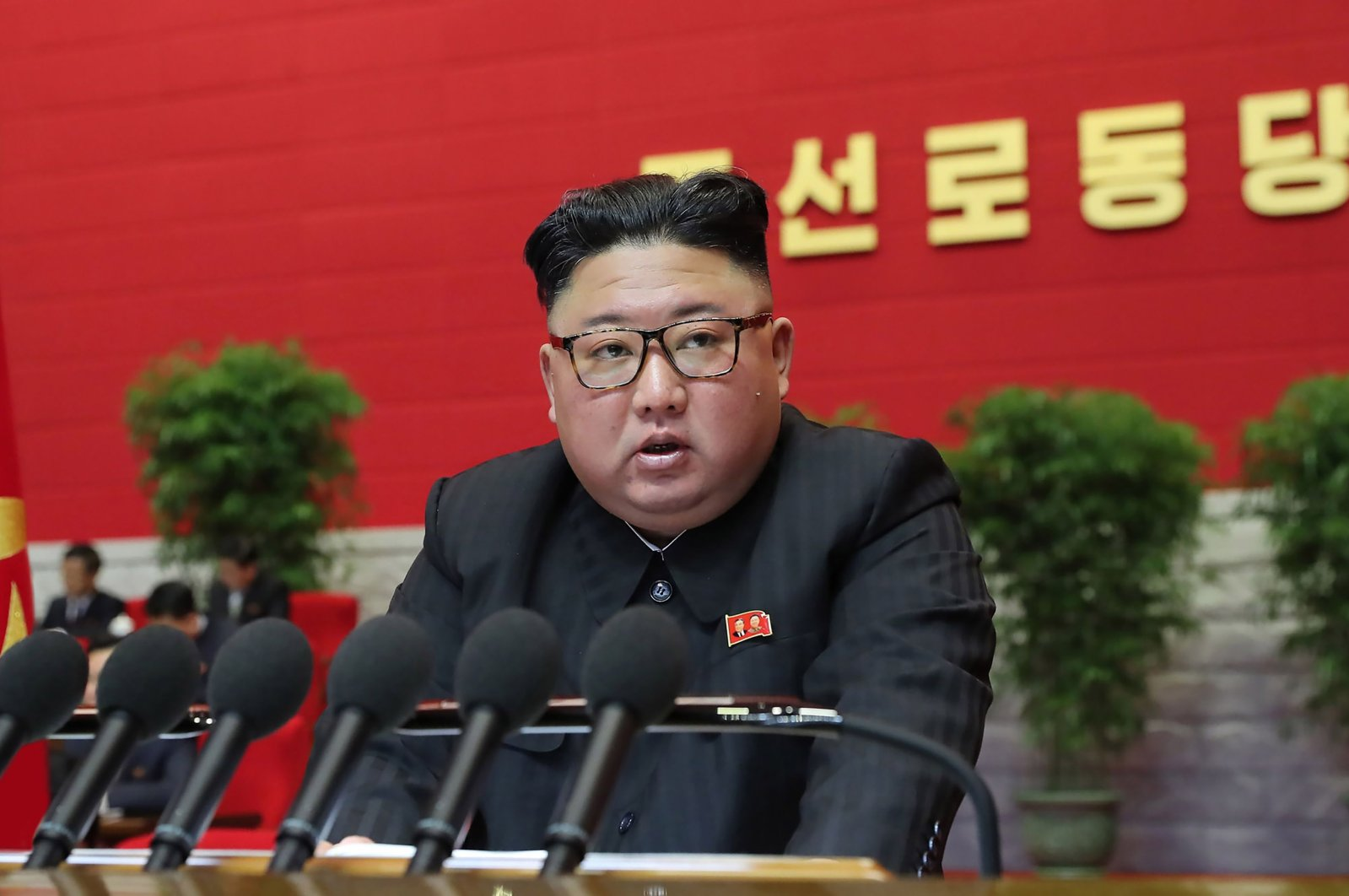 North Korean leader Kim Jong Un speaks during the third day of the 8th Congress of the Workers' Party of Korea (WPK) in Pyongyang, North Korea, taken on Jan. 7, 2021, and released from North Korea's official Korean Central News Agency (KCNA) on Jan. 8, 2021. (KCNA via KNS / AFP Photo)