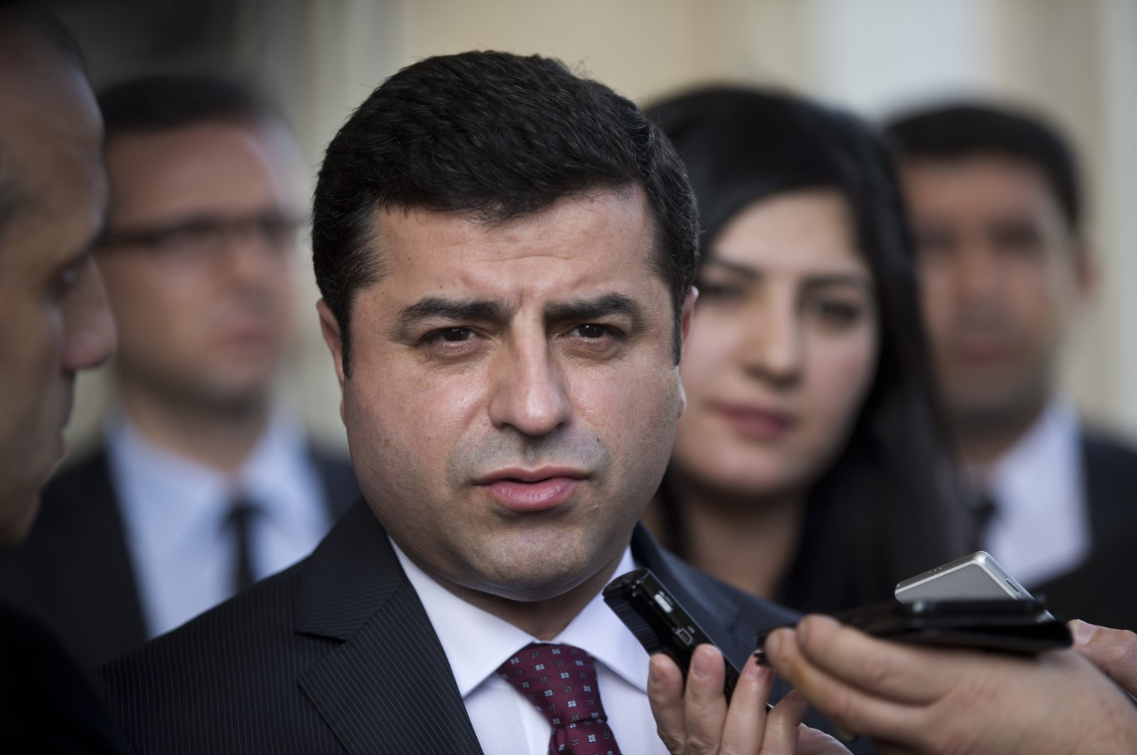 Pro-PKK Peoples' Democratic Party (HDP) Co-Chair Selahattin Demirtaş speaks with journalists after his meeting with Greek Prime Minister Alexis Tsipras, in Athens, Greece, Feb. 15, 2016. (AP Photo)