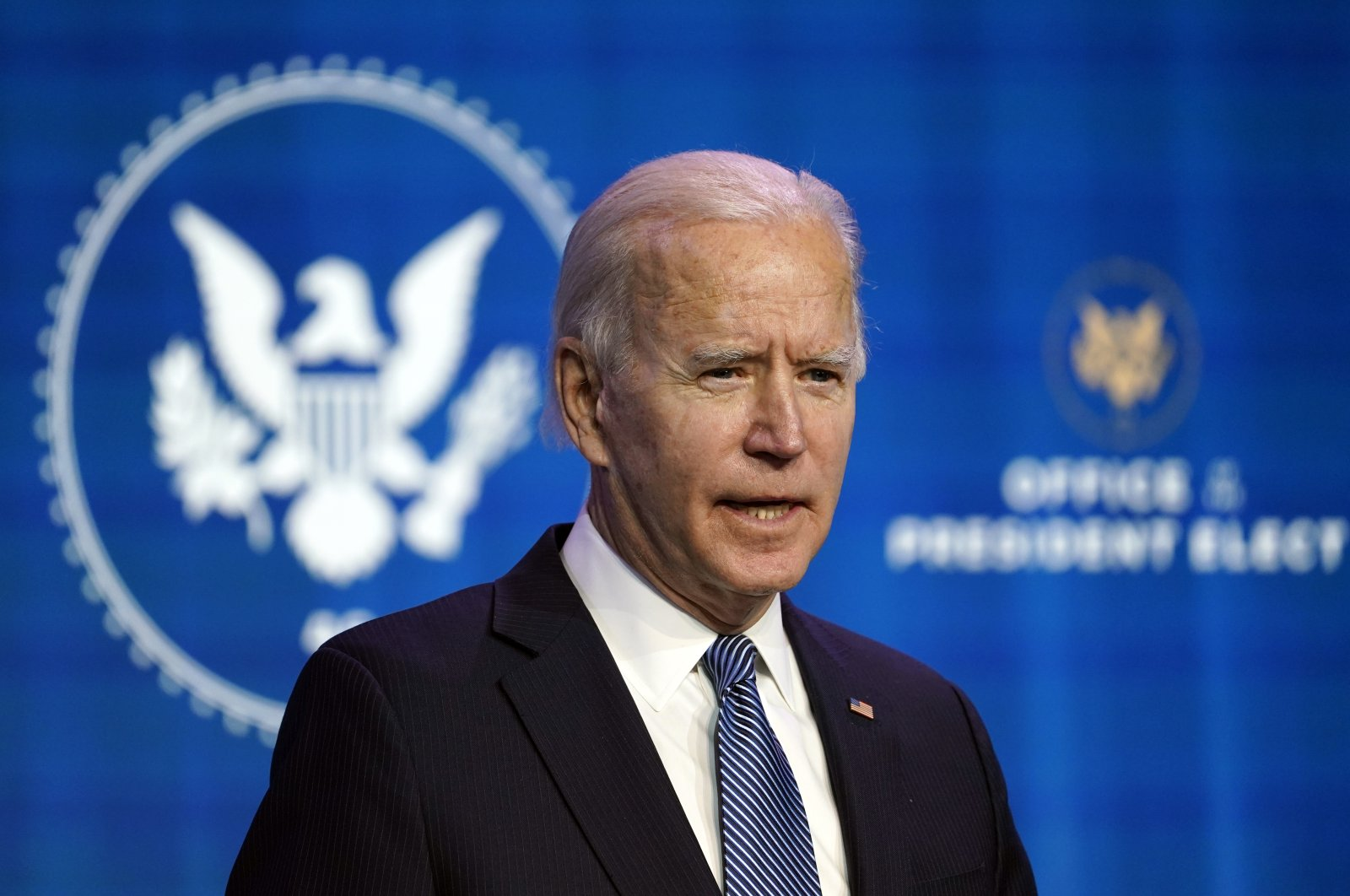 U.S. President-elect Joe Biden speaks during an event at The Queen Theater to announce key nominees for the Justice Department, in Wilmington, Delaware, U.S., Jan. 7, 2021. (AP Photo)