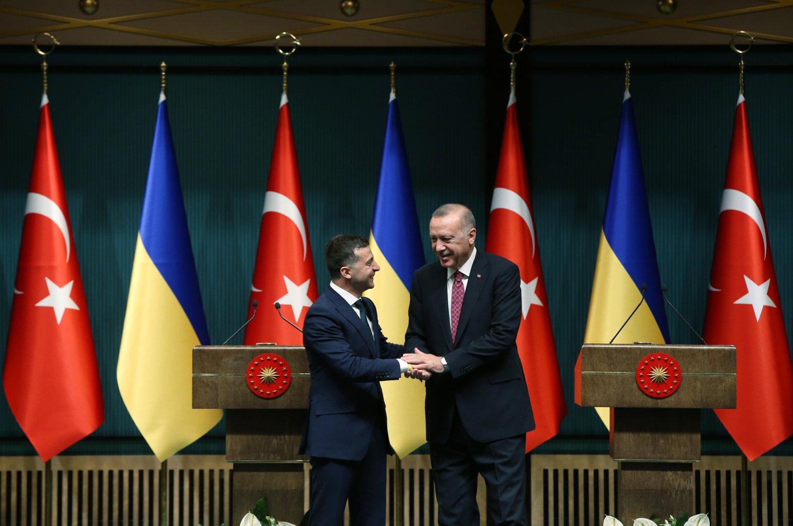 President Recep Tayyip Erdoğan meets with his Ukrainian counterpart, Volodymyr Zelenskiy, in Istanbul, Turkey, Aug. 8, 2019. (AA Photo)