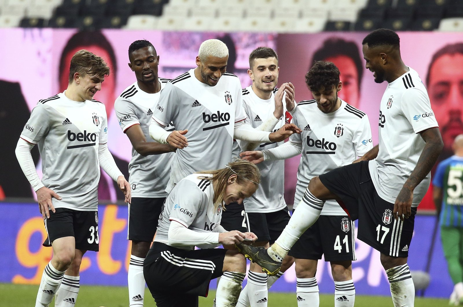 Beşiktaş players celebrate a goal during a Süper Lig match against Rizespor at the Vodefone Park stadium, in Istanbul, Turkey, Jan. 6, 2021. (IHA Photo)