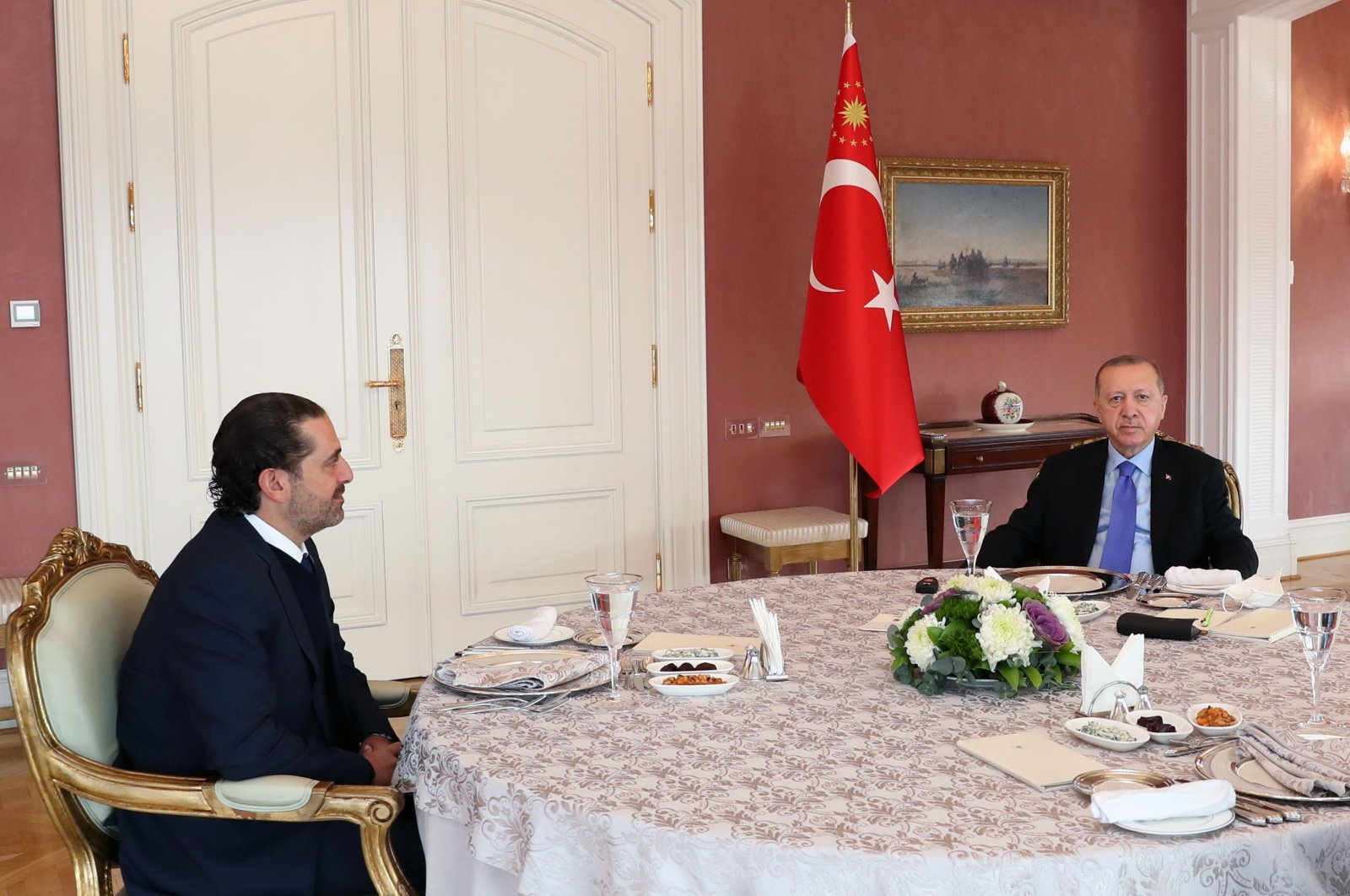 President Recep Tayyip Erdoğan (R) meets with Lebanese former Prime Minister Saad Hariri (L) at Vahdettin Mansion in Istanbul, Jan. 8, 2021. (AFP)