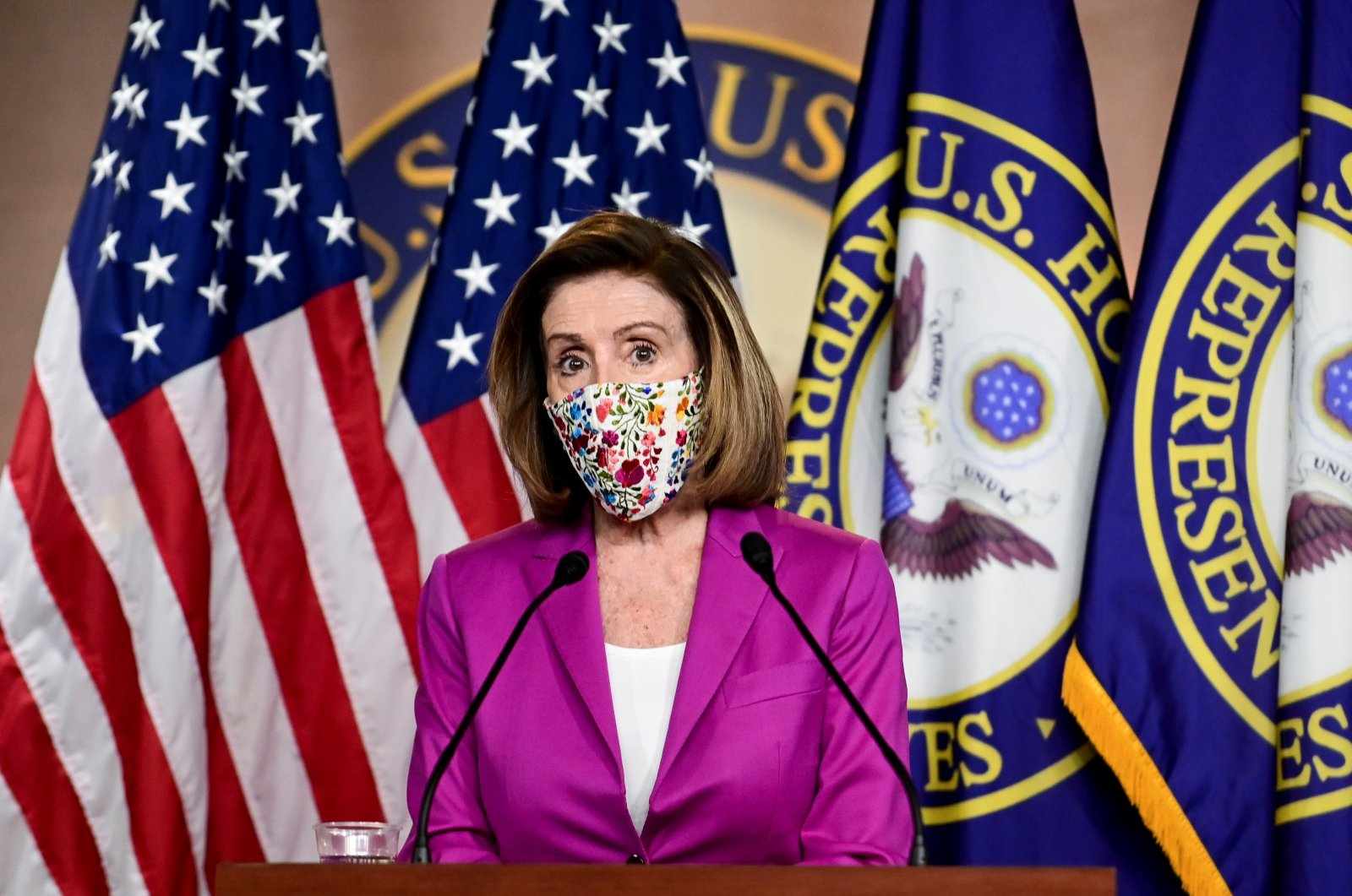 U.S. House Speaker Nancy Pelosi (D-CA) speaks to reporters a day after supporters of U.S. President Donald Trump occupied the Capitol, during a news conference in Washington, U.S., Jan. 7, 2021. (Reuters Photo)