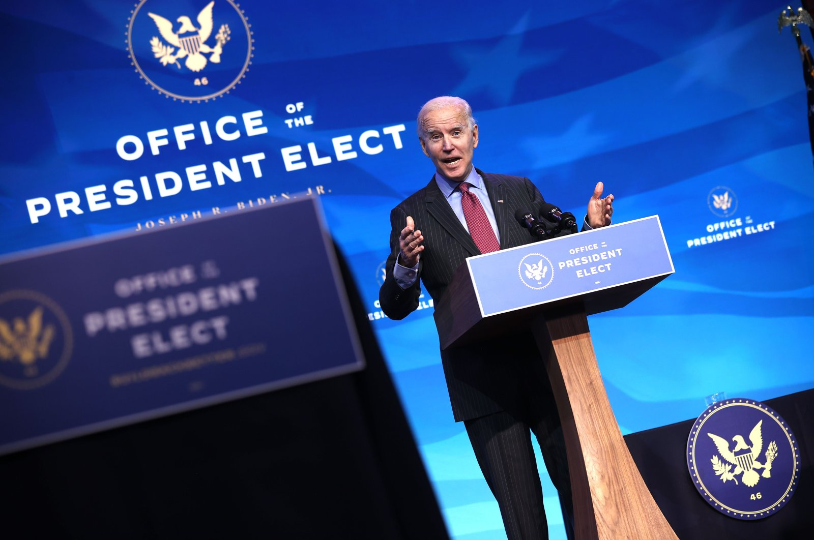 U.S. President-elect Joe Biden delivers remarks after he announced cabinet nominees that will round out his economic team, including secretaries of commerce and labor, at The Queen theater on January 08, 2021 in Wilmington, Delaware. (AFP Photo)