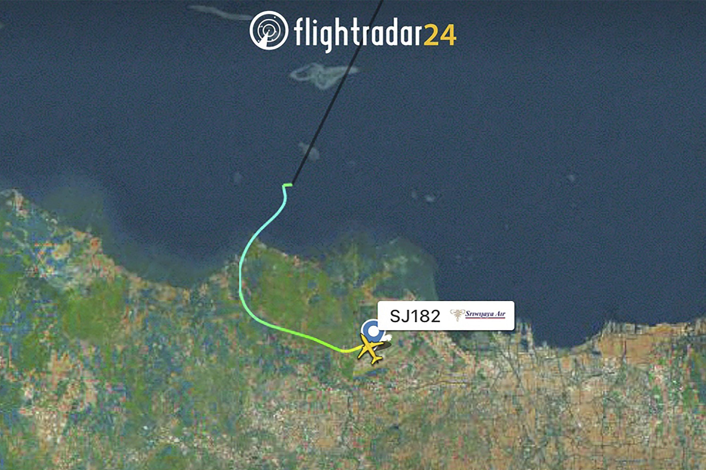 This radar image shows the flight path of Indonesian Sriwijaya Air Flight 182 before it dropped off radar, Jan. 9, 2021. (Flightradar24.com via AP)