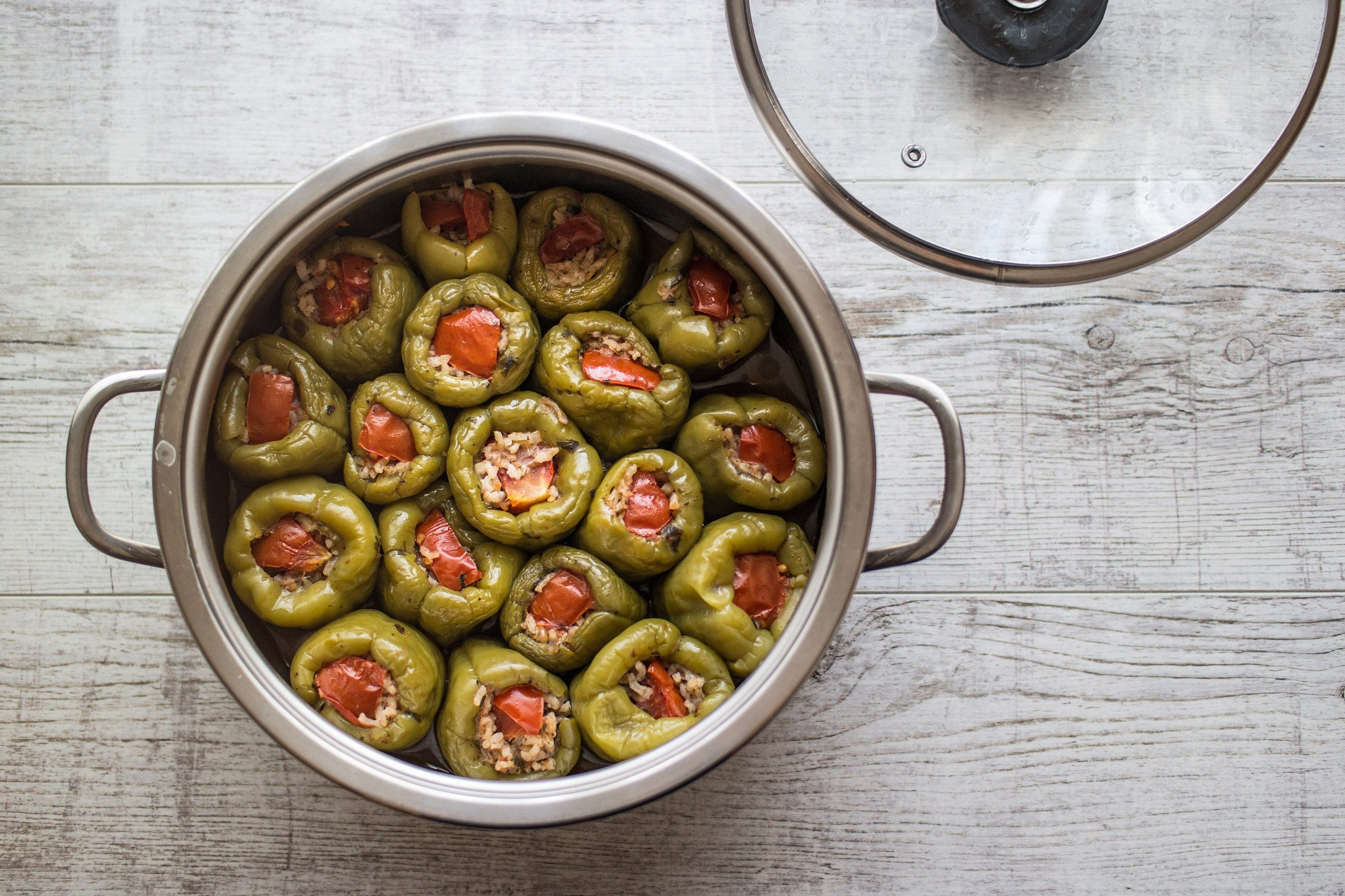 Instead of the tops of the peppers, try using tomato slices as your lids for the dolma. (Shutterstock Photo)