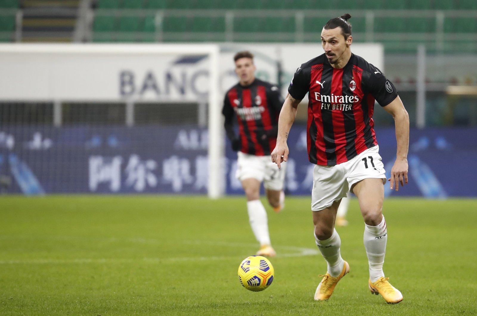 AC Milan's Zlatan Ibrahimovic in action during a Serie A match against Torino at the San Siro stadium, in Milan, Italy, Jan. 9, 2021. (AP Photo)