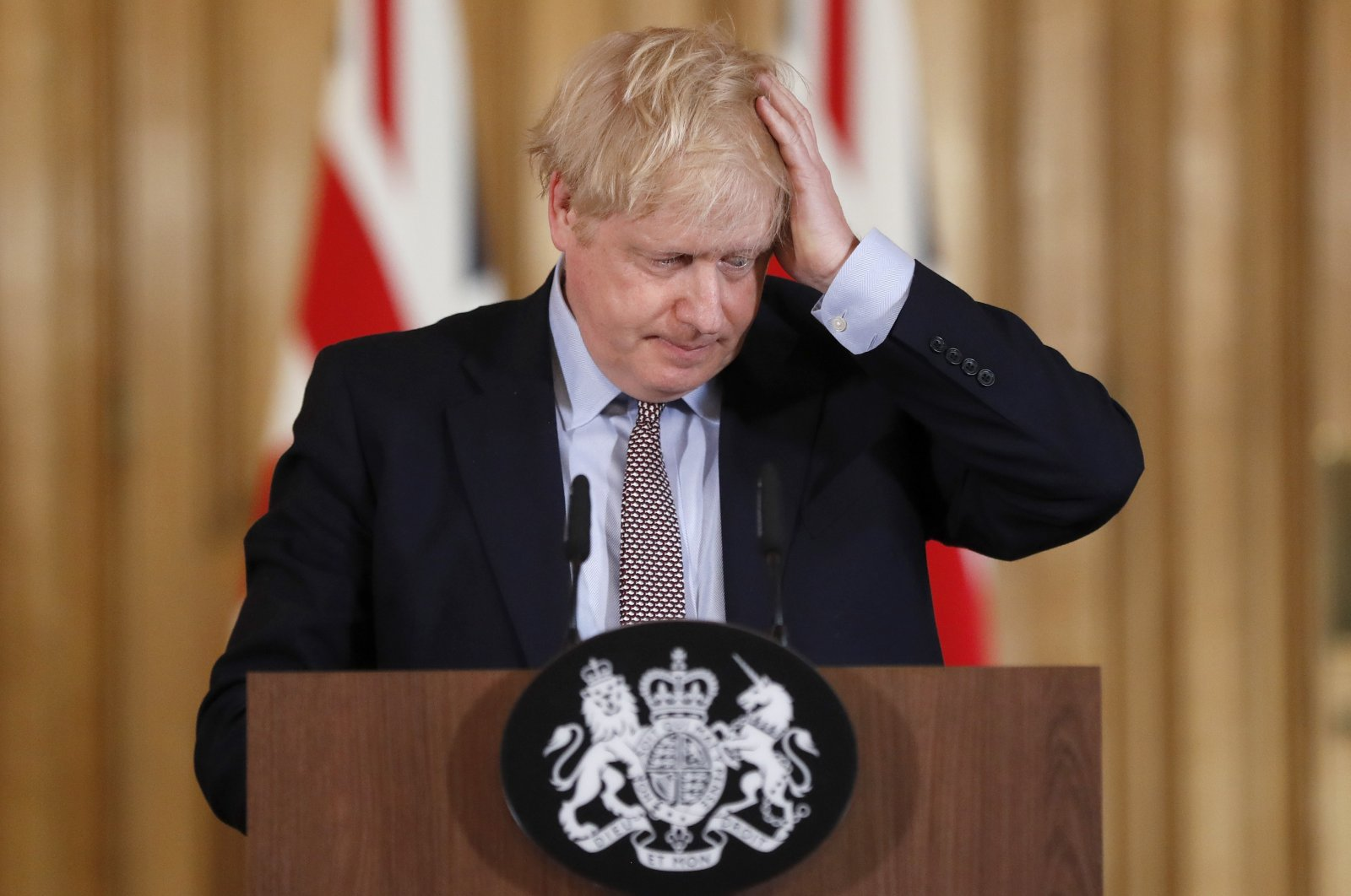 Britain's Prime Minister Boris Johnson reacts during a press conference at Downing Street on the government's coronavirus action plan in London, the U.K., March 3, 2020. (AP Photo)