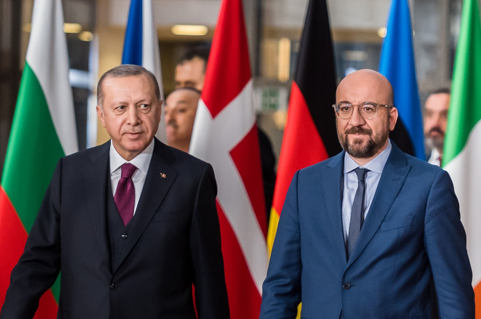 President Recep Tayyip Erdoğan (L) and Charles Michel, president of the European Union (EU), arrive ahead of talks in Brussels, Belgium, March 9, 2020. (Photo by Getty Images)