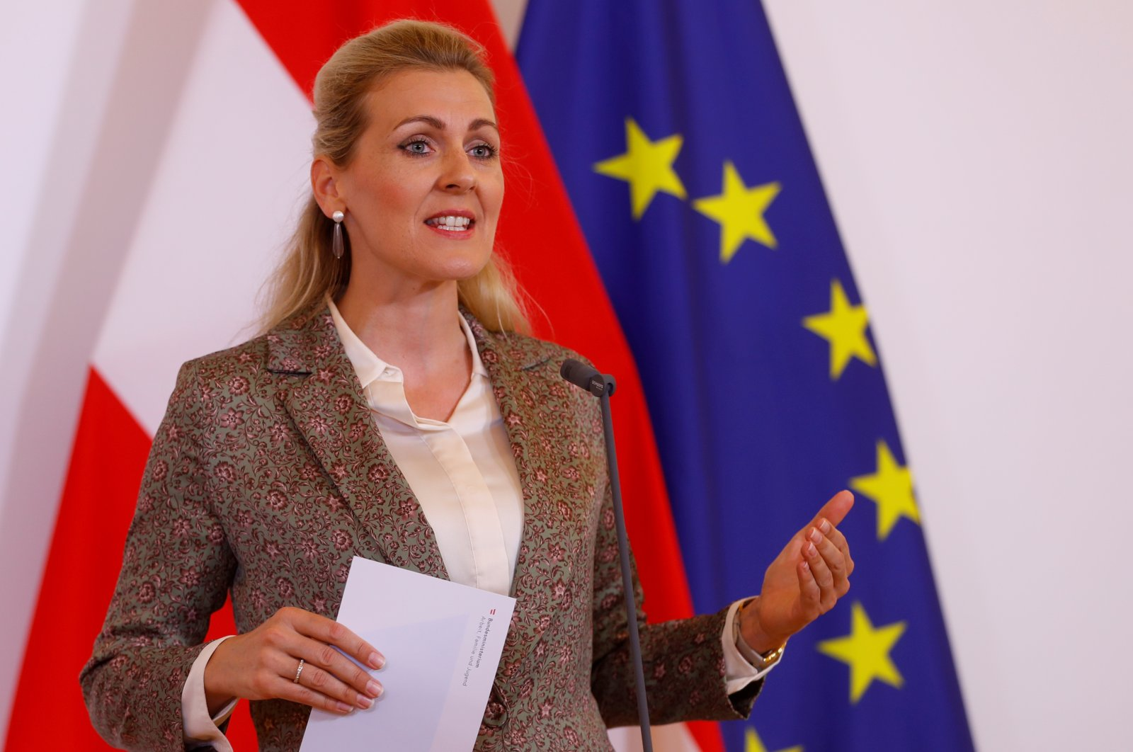 Austrian Family Minister Christine Aschbacher talks to the media during the coronavirus disease (COVID-19) outbreak in Vienna, Austria, June 15, 2020. (Reuters Photo)