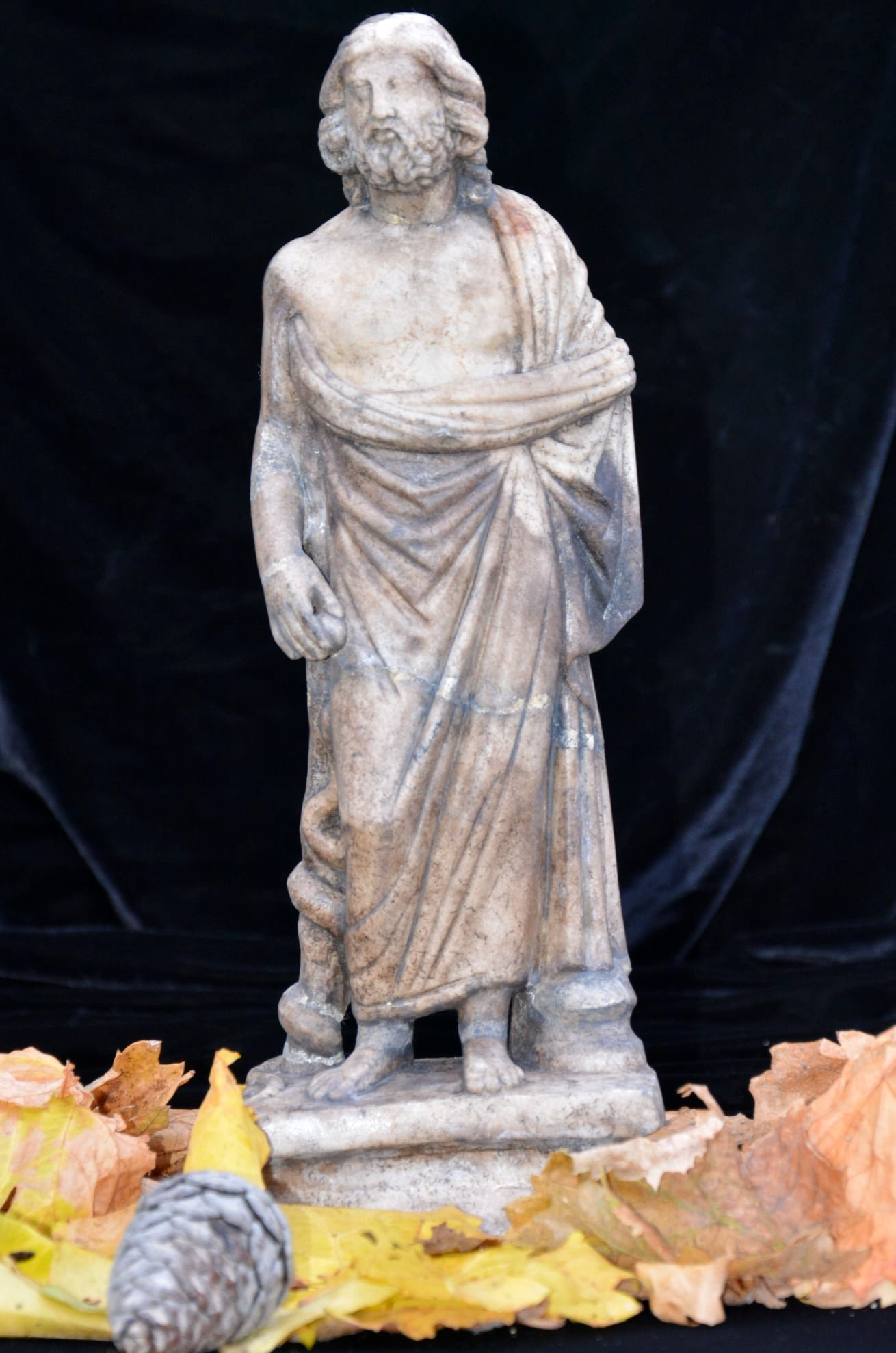 The statue was determined to be depicting Asclepius, evident from his serpent-entwined staff, Jan. 6, 2021. (DHA Photo)