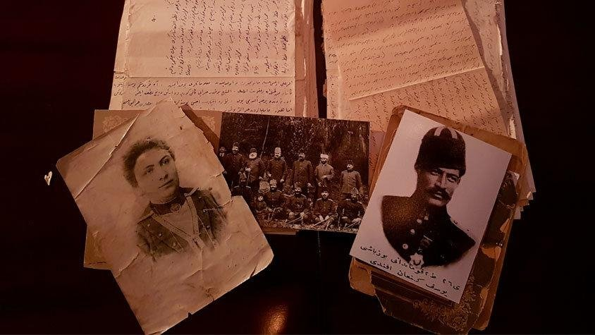 Letters that Yusuf Kenan and Zehra wrote to each other, in a scene from the documentary.