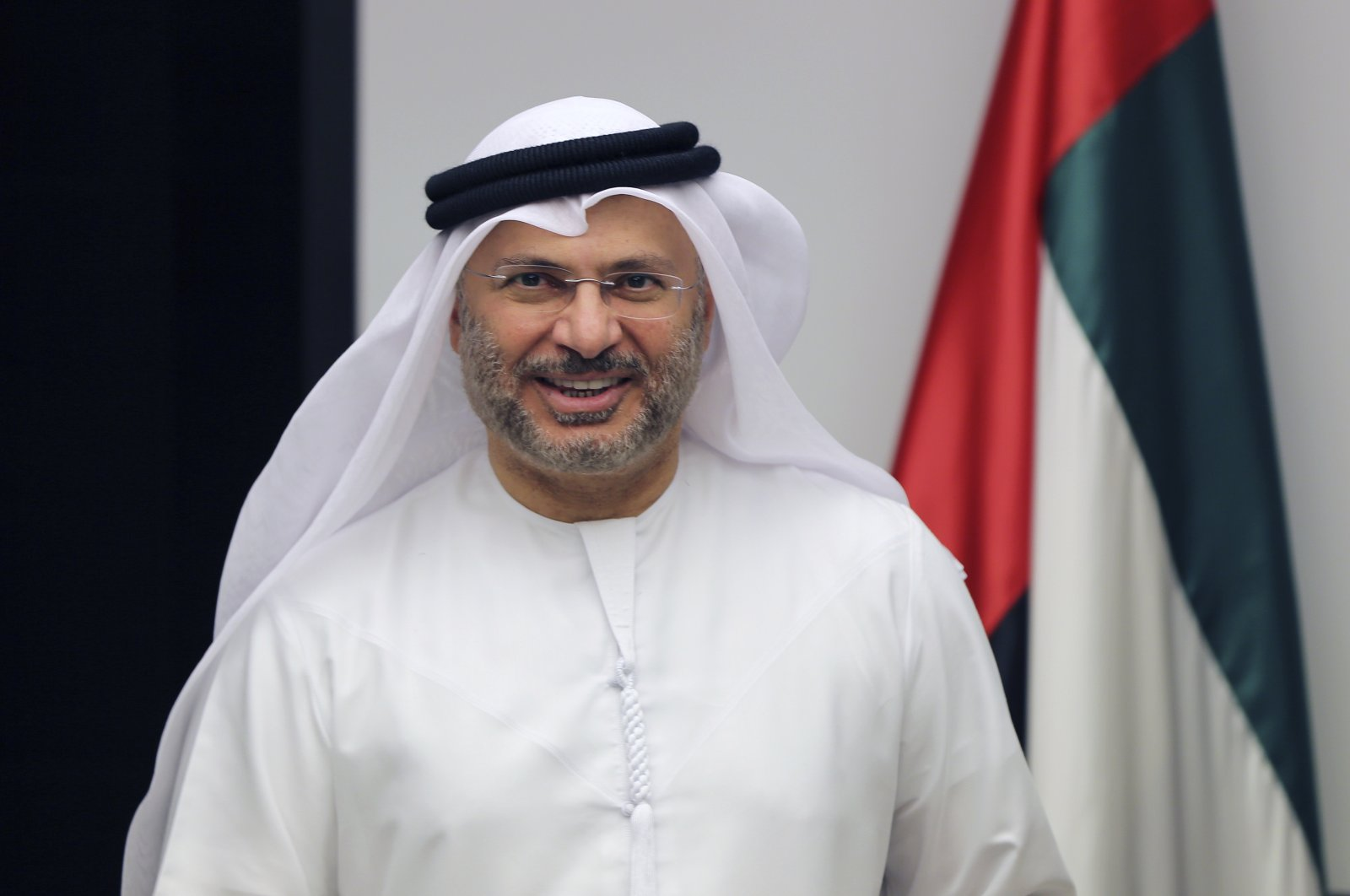 Anwar Gargash, UAE minister of state for foreign affairs, arrives for a press conference in Dubai, United Arab Emirates, June 24, 2017. (AP Photo)