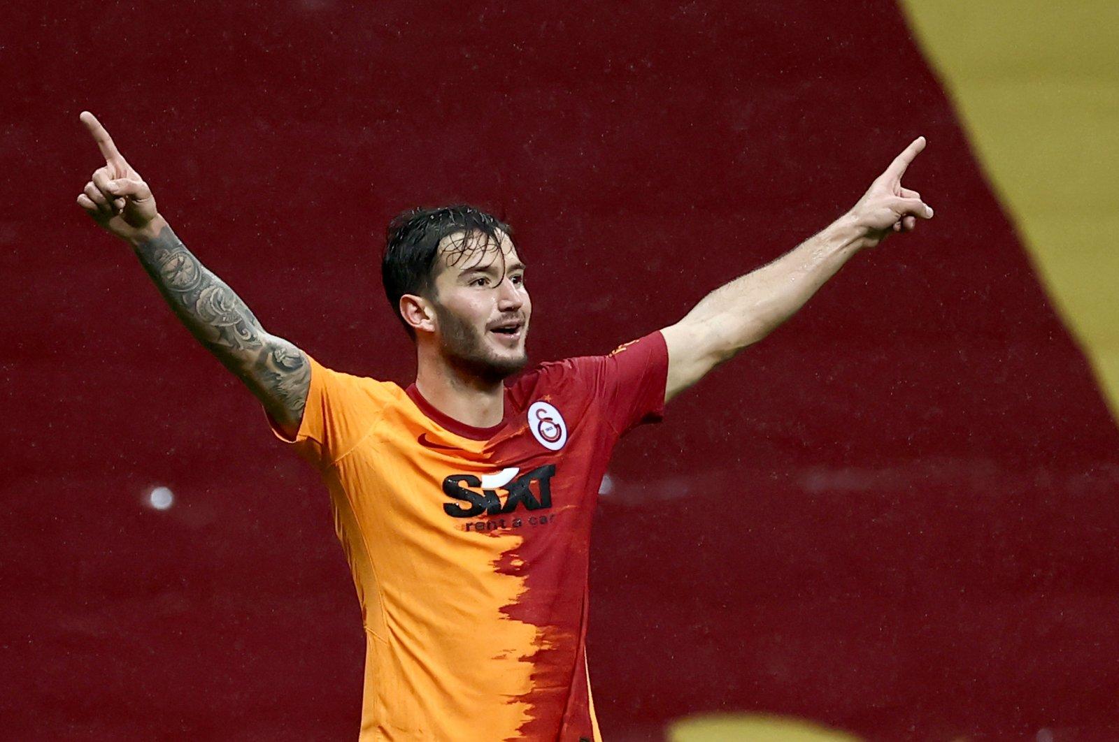 Galatasaray's Oğulcan Çağlayan reacts after scoring a goal during a Süper Lig match against Gençlerbirliği at the Türk Telekom Arena stadium, in Istanbul, Turkey, Jan. 9, 2021. (AA Photo)