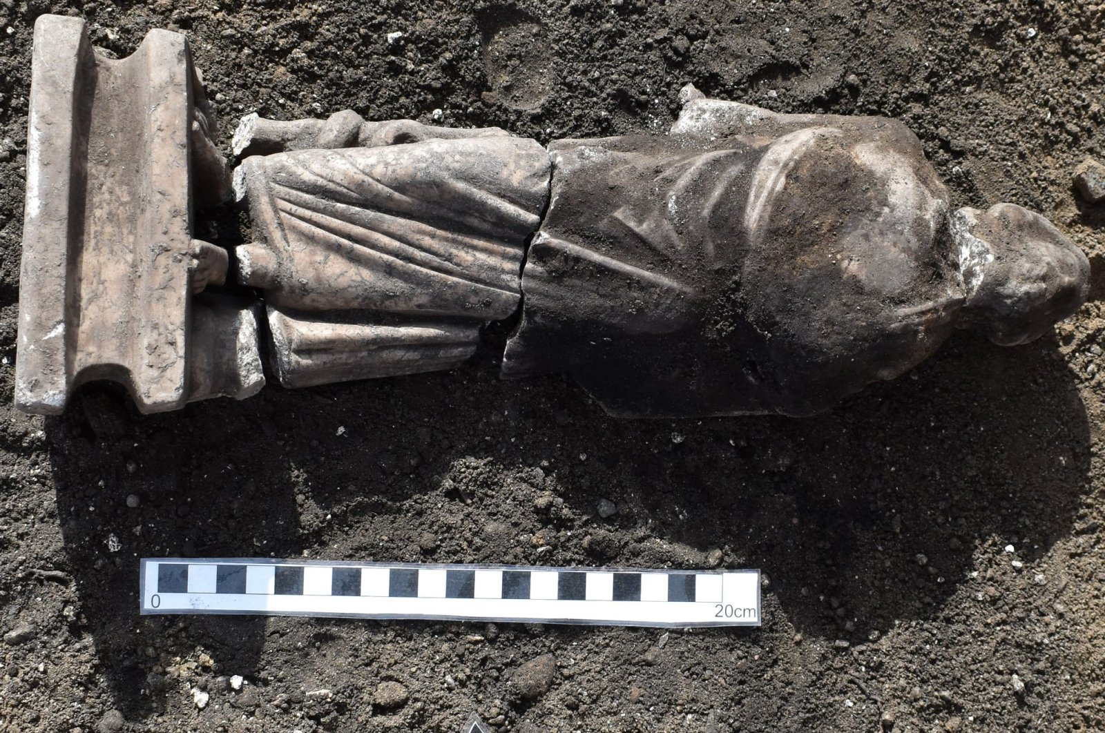 One of the statues was determined to depict Asclepius, evident from his serpent-entwined staff, Jan. 6, 2021. (DHA Photo)