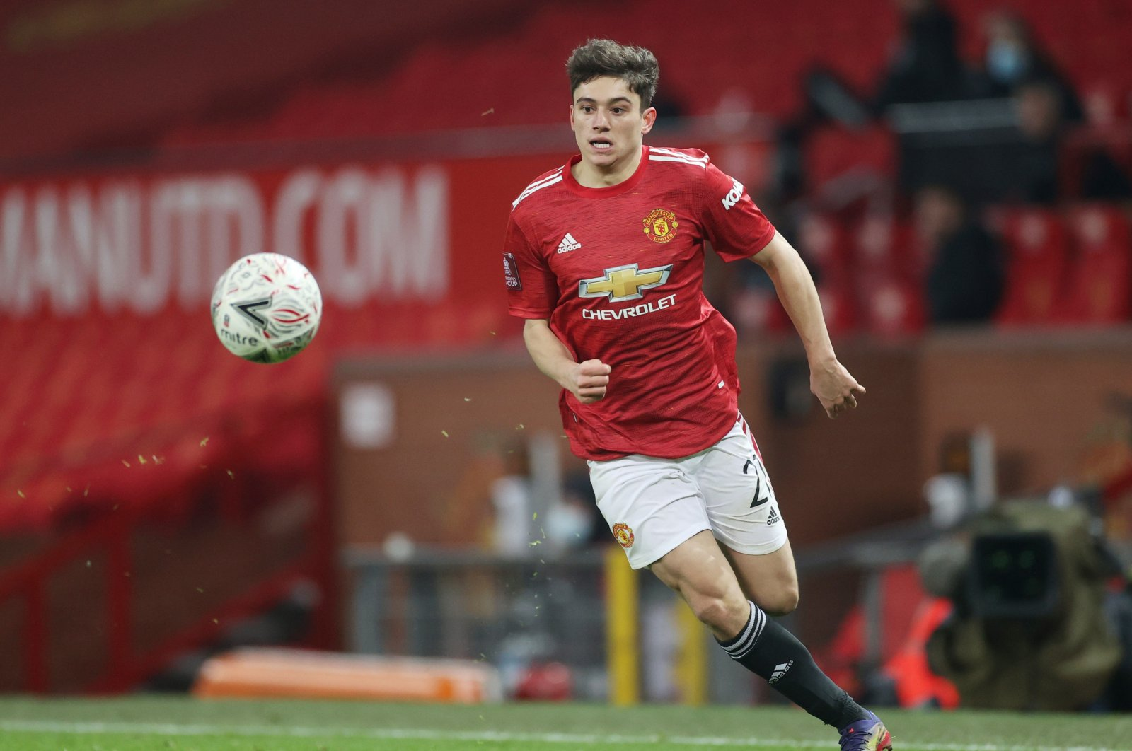 Manchester United's Daniel James in action during a Premier League match against Watford at the Old Trafford stadium, in Manchester, Britain, Jan. 9, 2021. (Reuters Photo)