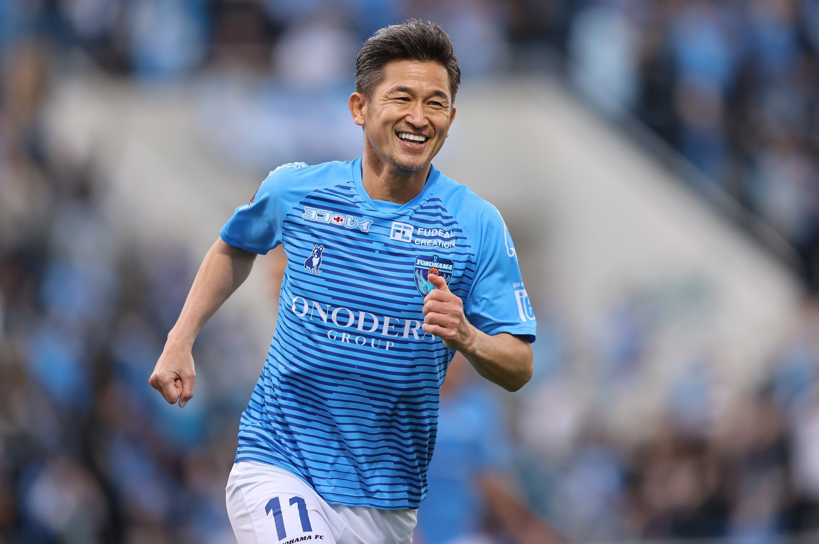 Yokohama FC's Kazuyoshi Miura in action during a J-League match against Vissel Kobe, in Kanagawa, Japan, Nov. 8, 2020. (Reuters Photo)