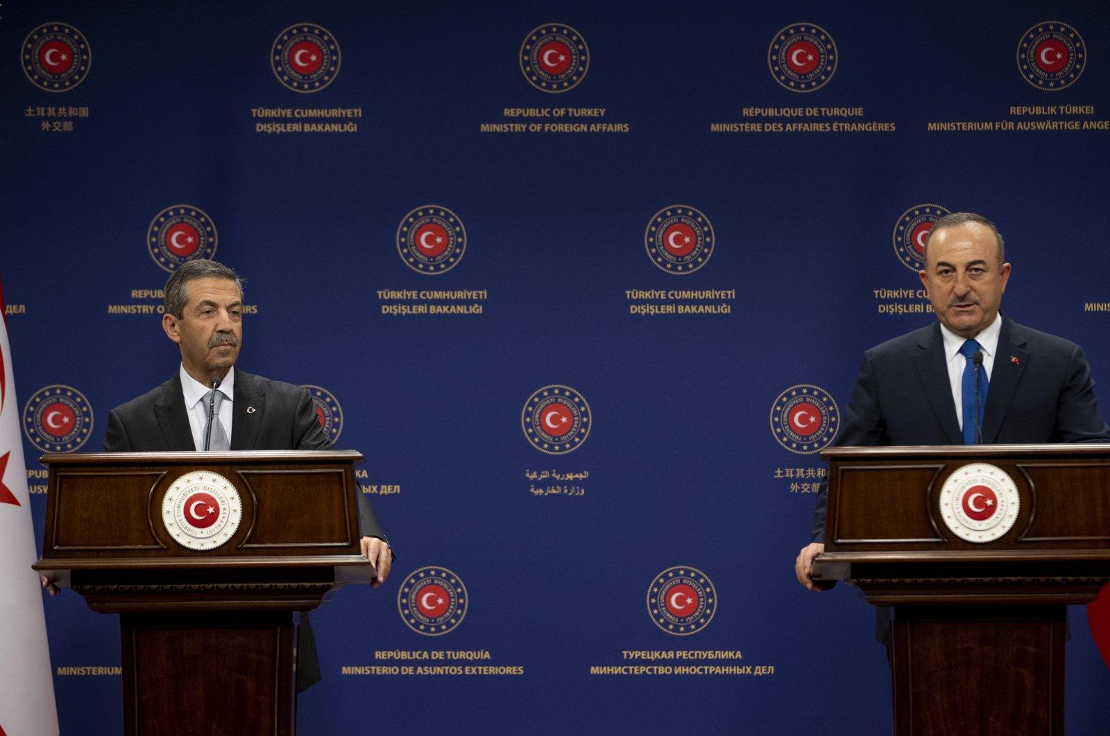 Foreign Minister Mevlüt Çavuşoğlu (R) and his Turkish Cypriot counterpart Tahsin Ertuğruloğlu speak during a joint press conference in the capital Ankara, Jan. 11, 2021. (AA Photo)