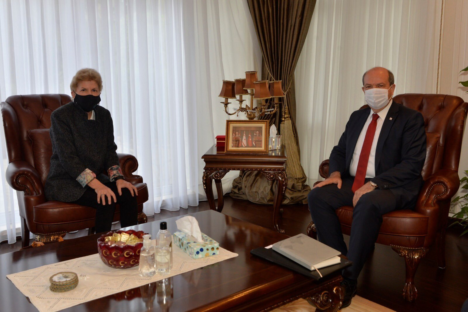 Turkish Republic of Northern Cyprus (TRNC) President Ersin Tatar (R) meets with U.N. envoy Jane Holl Lute in Lefkoşa (Nicosia), TRNC, Jan. 11, 2020. (AA Photo)