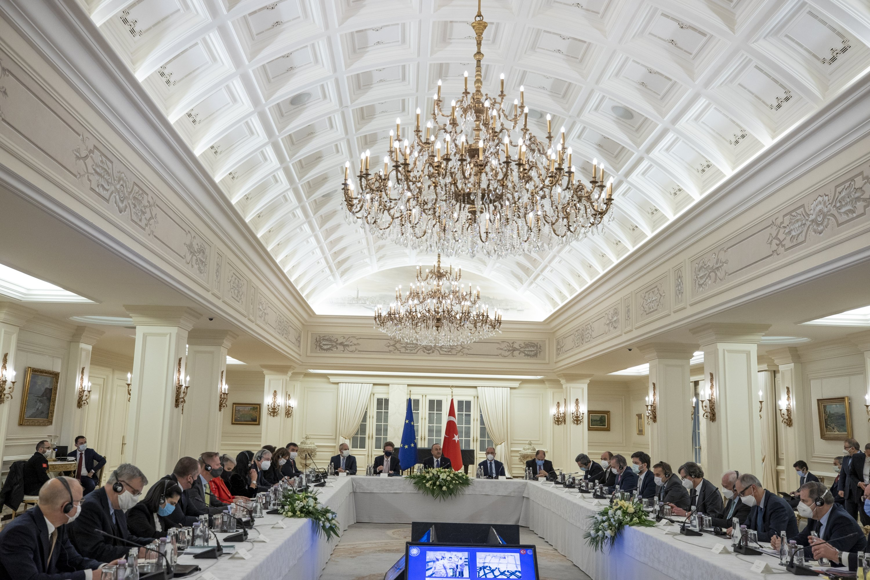Foreign Minister Mevlüt Çavuşoğlu (C) holds a meeting with European Union ambassadors in the capital Ankara, Turkey, Jan. 12, 2021. (AA)