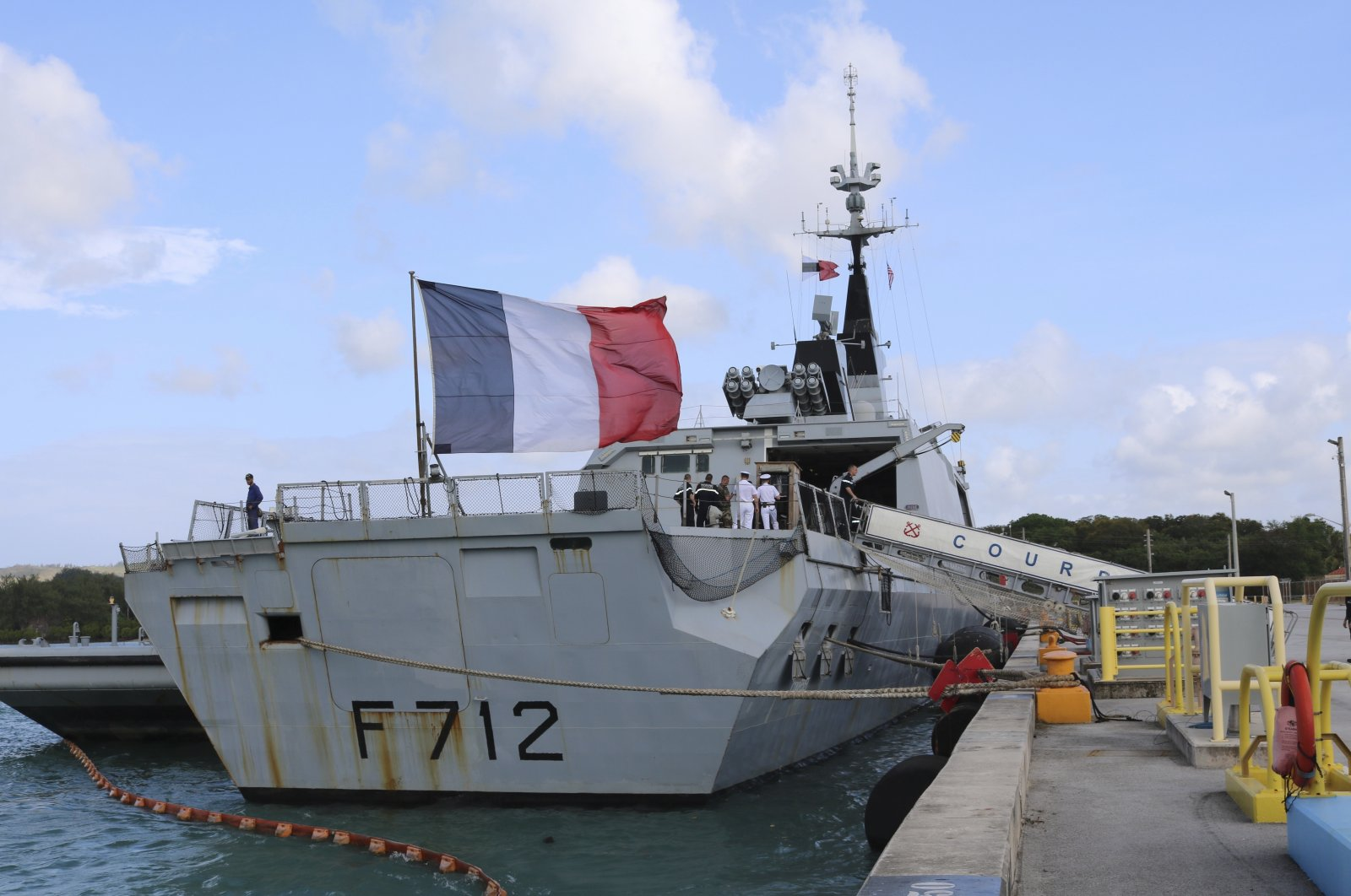 The French stealth frigate Courbet is docked at Naval Base Guam, near Hagatna, Guam on May 11, 2017. (AP File Photo)
