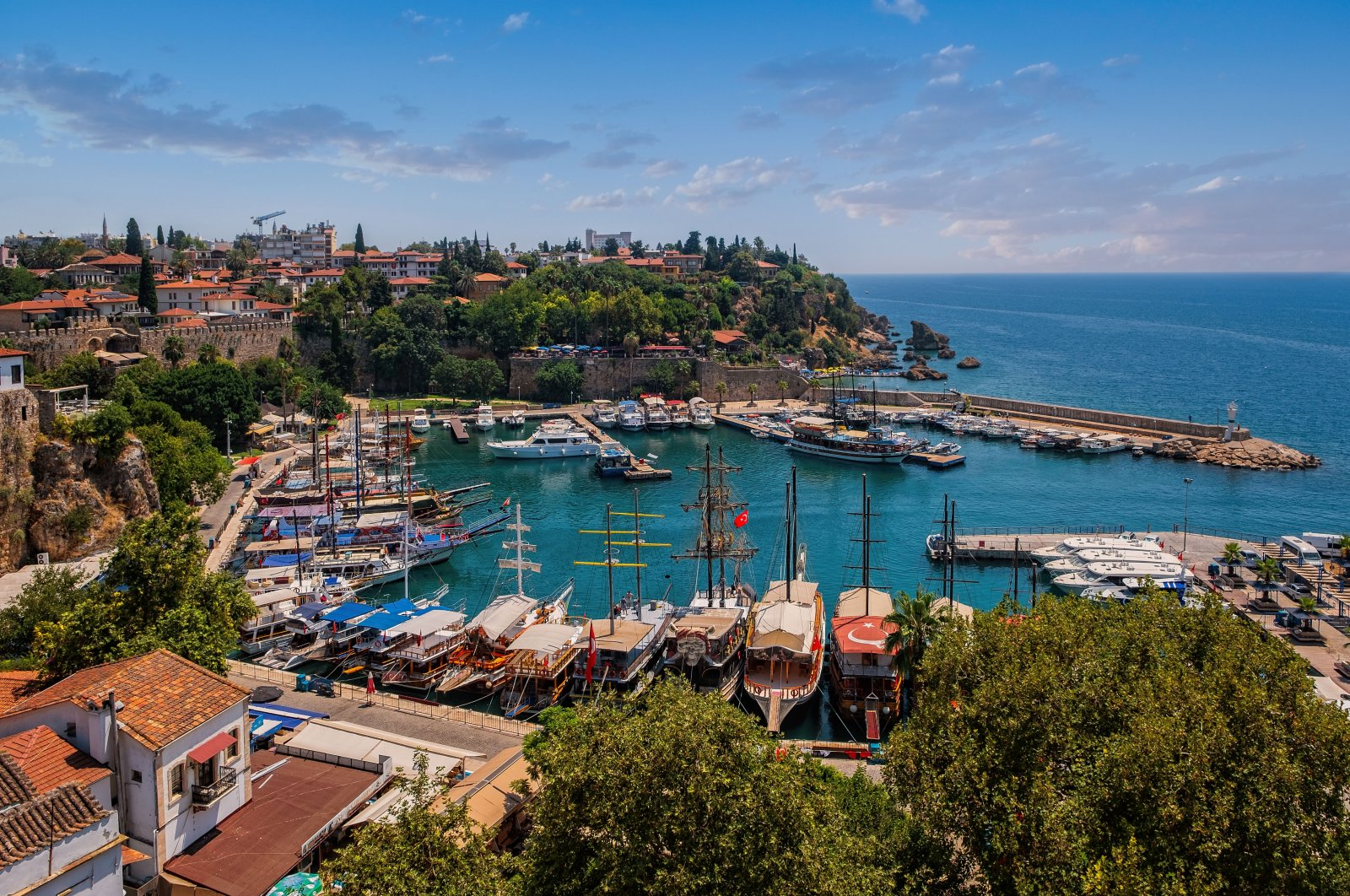 A view from the old harbor in historic city center Kaleiçi of Antalya, southern Turkey, Aug. 2020. (Shutterstock Photo)
