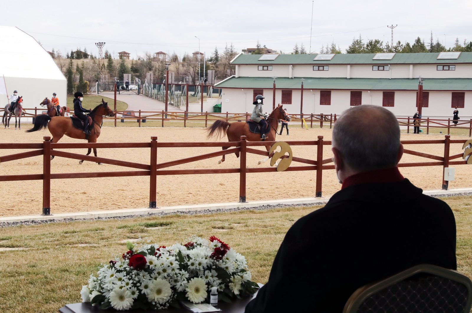 President Recep Tayyip Erdoğan watches riders at the facility, in the capital Ankara, Turkey, Jan. 12, 2021. (AA PHOTO)
