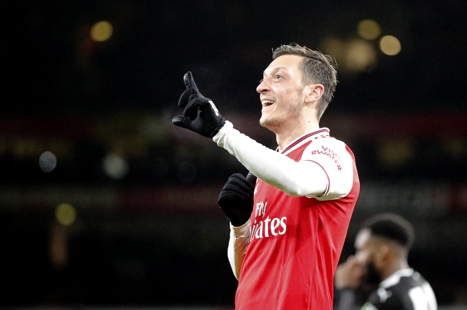 Arsenal's Mesut Özil celebrates during a Premier League match against Newcastle United at the Emirates Stadium in London, Britain, Feb. 16, 2020. (AP Photo)