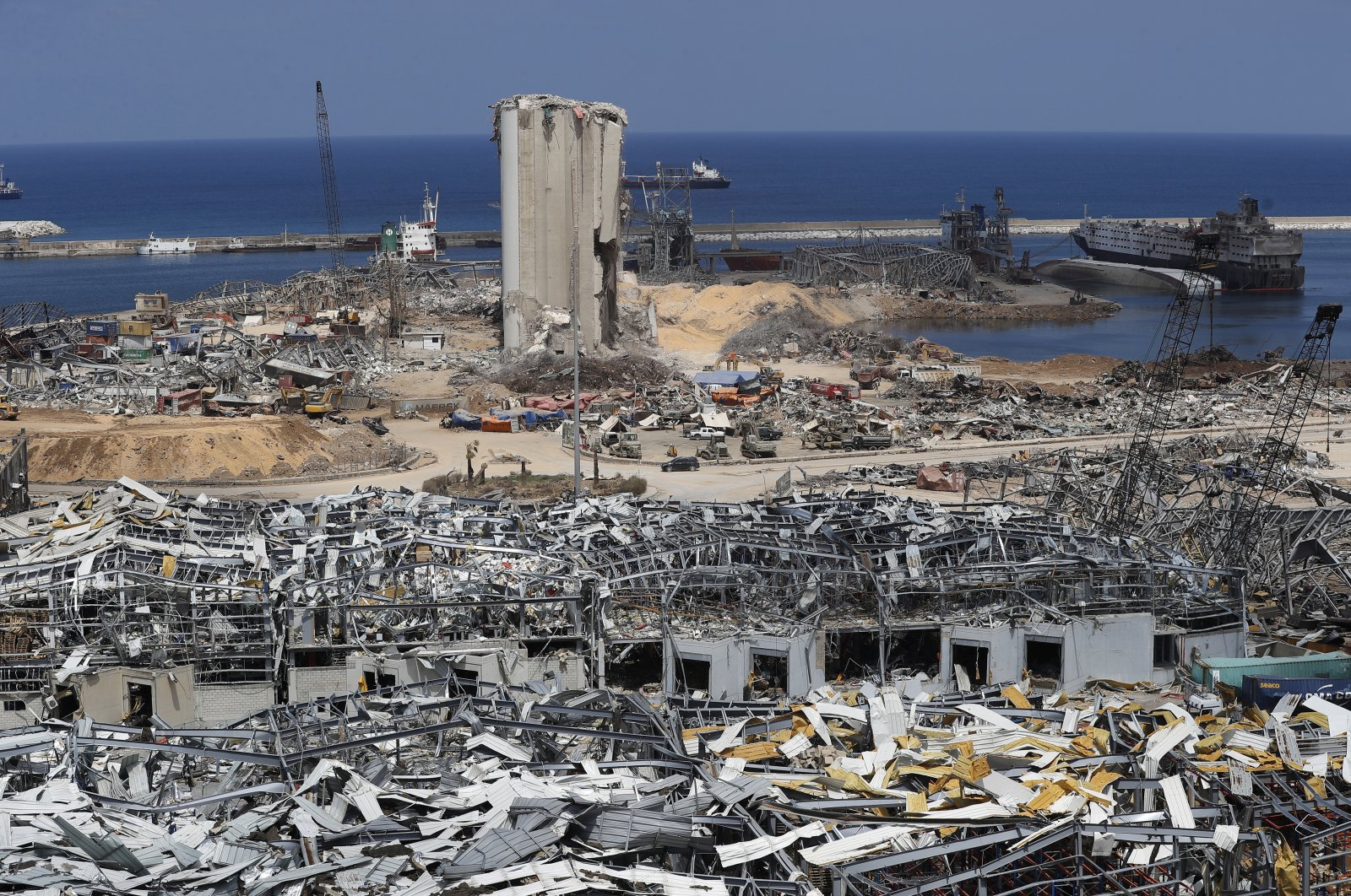 The scene of the Aug. 4 explosion that hit the seaport of Beirut, Lebanon, Aug. 19, 2020. (AP Photo)