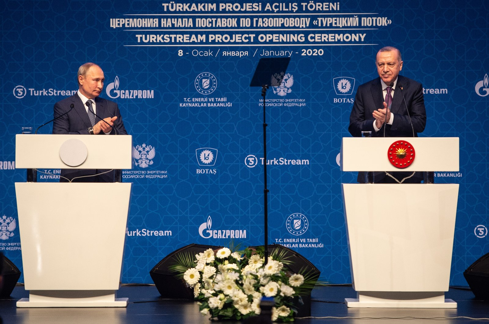 President Recep Tayyip Erdogan and Russian President Vladimir Putin (L) at the opening ceremony of the Turkstream gas pipeline project, Istanbul, Turkey, Jan. 8, 2020. (Photo by Getty Images)