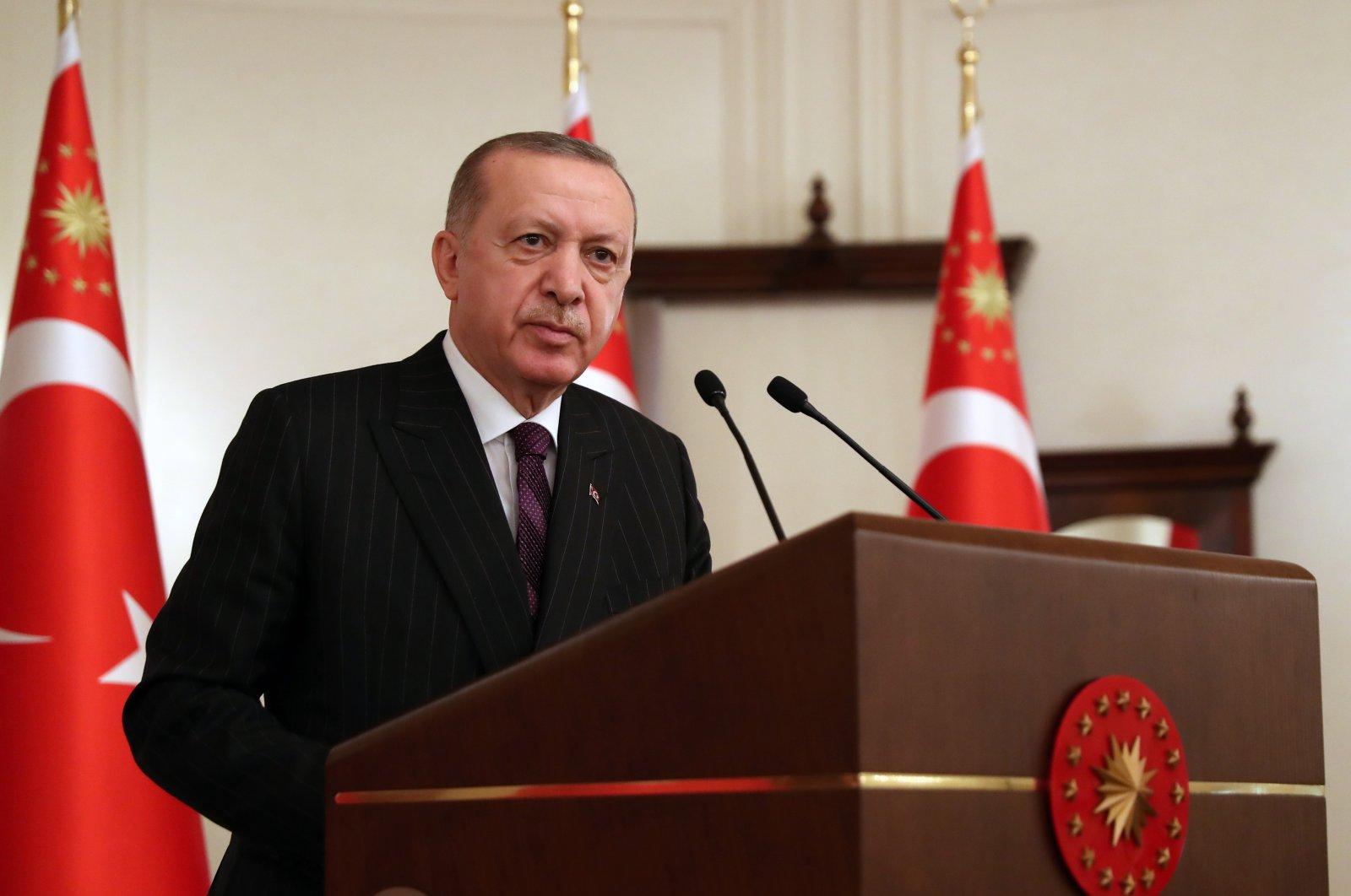 President Recep Tayyip Erdoğan addresses European Union ambassadors in the capital Ankara, Turkey, Jan. 12, 2021. (AA)