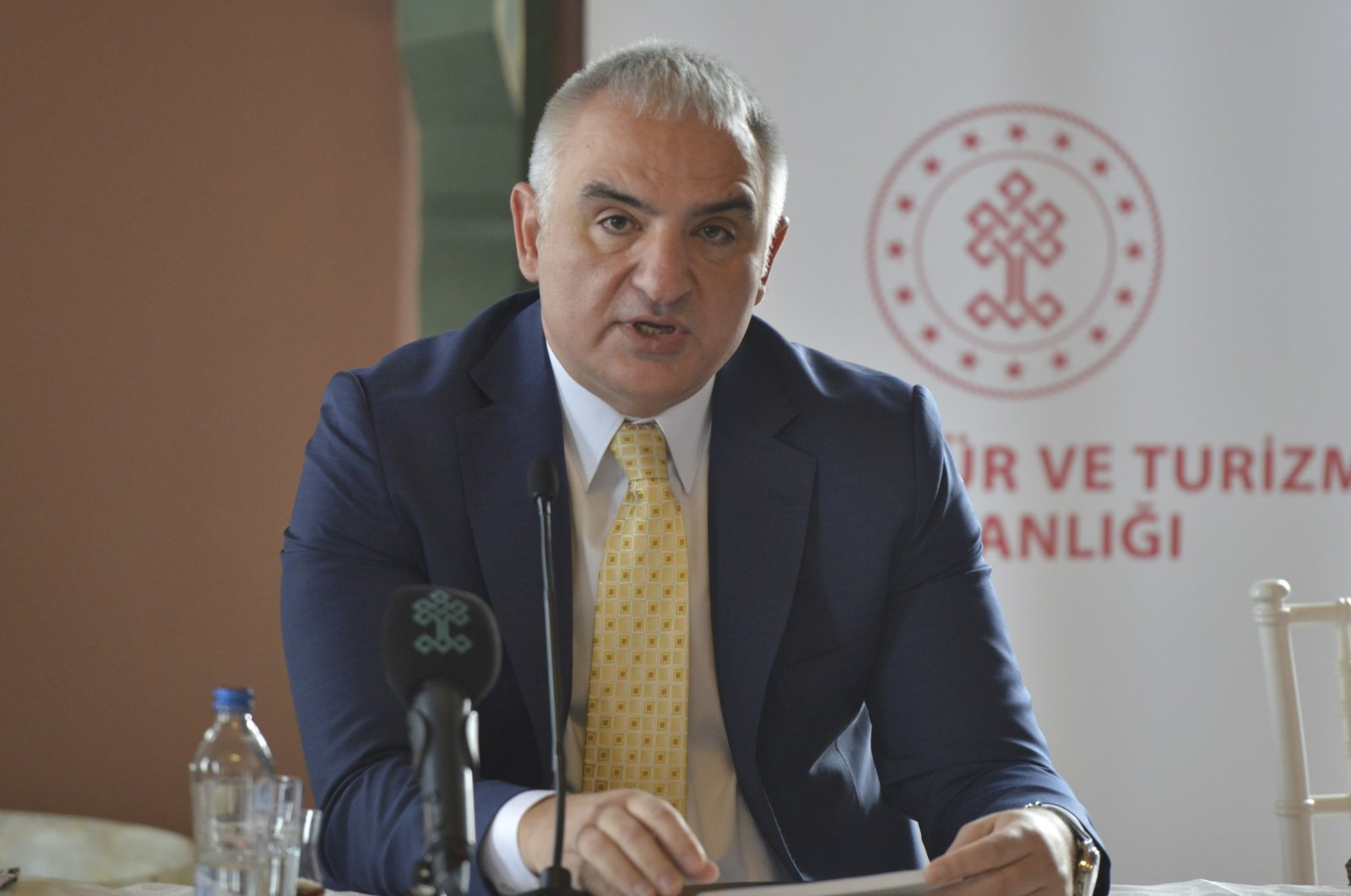 Culture and Tourism Minister Mehmet Nuri Ersoy speaking to media representatives in Ankara, Jan. 12, 2020 (IHA Photo)