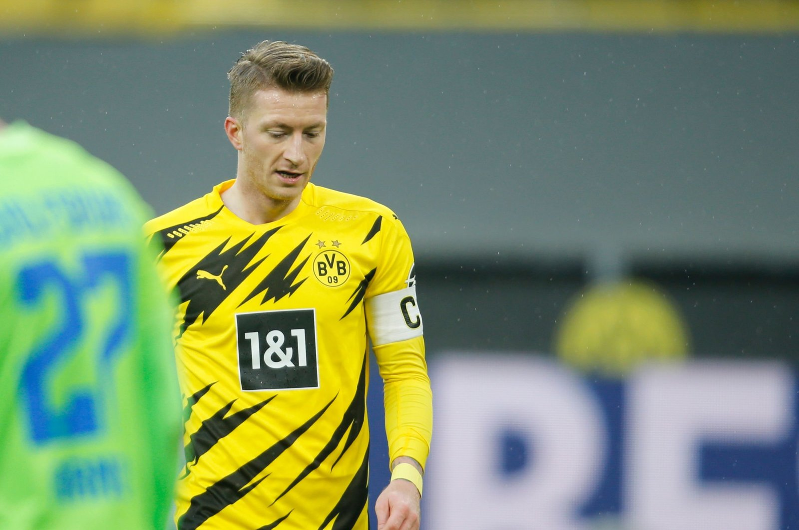 Borussia Dortmund's German forward Marco Reus reacts after failing to score during the German first division Bundesliga football match between Borussia Dortmund and VfL Wolfsburg, in Dortmund, Germany, Jan. 3, 2021. (Pool via AFP)