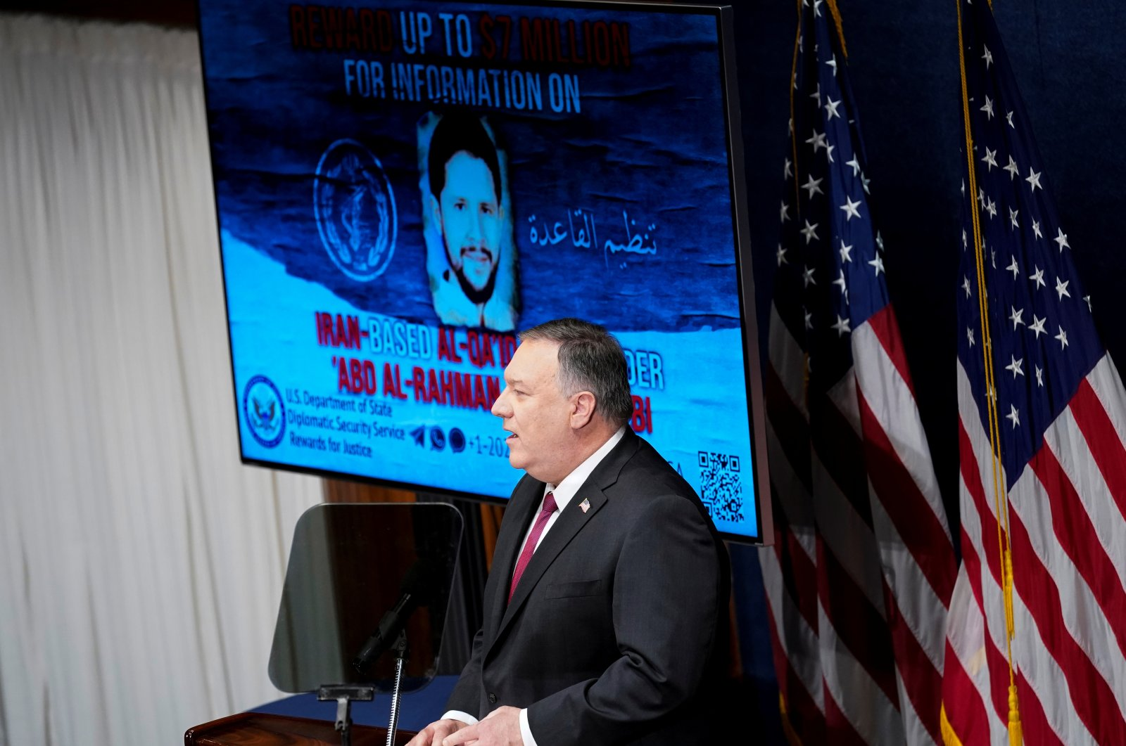 Secretary of State Mike Pompeo speaks at the National Press Club in Washington, D.C., U.S., Jan. 12, 2021. (Reuters Photo)
