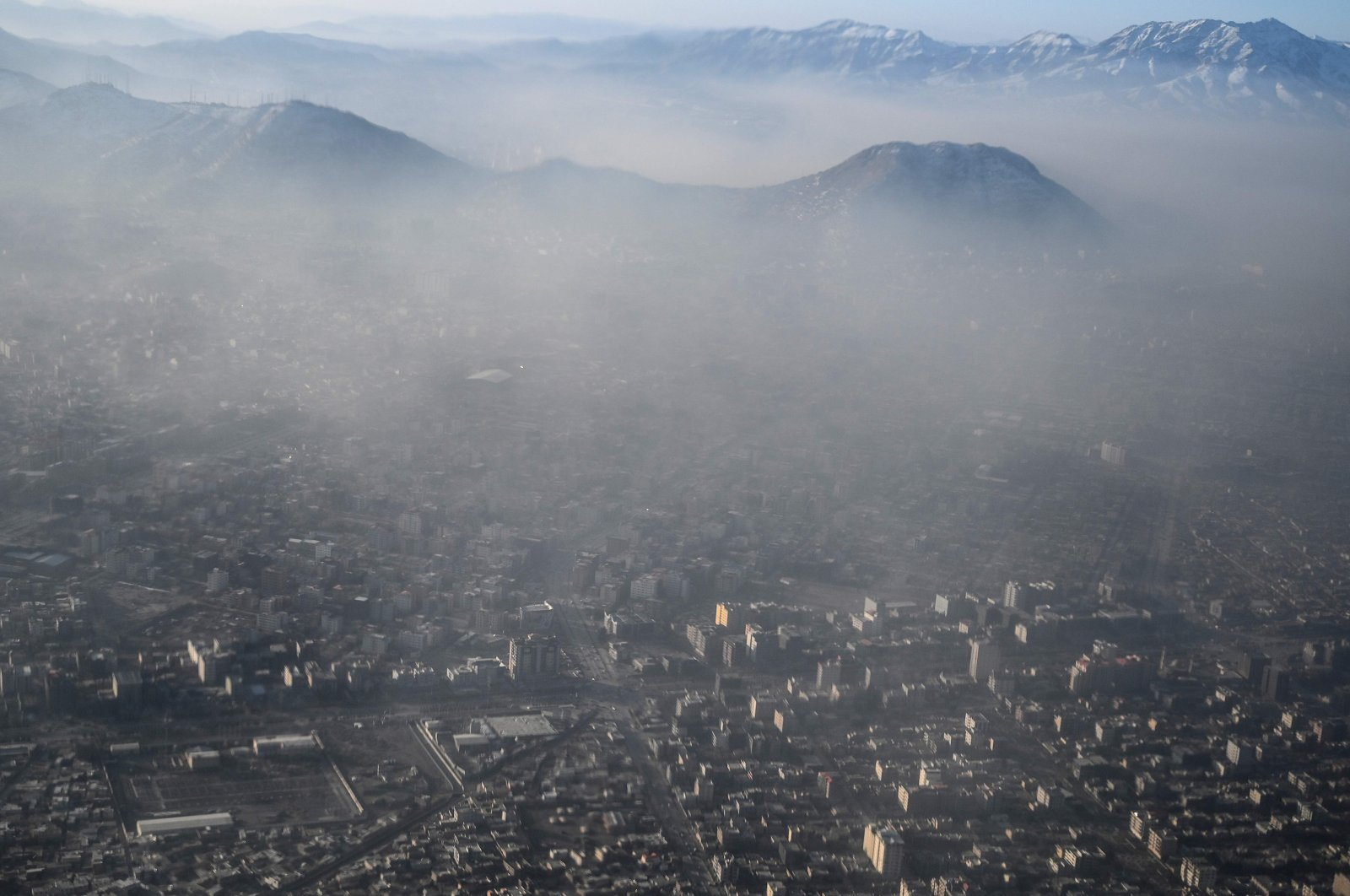 This aerial view shows Afghanistan's capital of Kabul amid heavy smog conditions, Jan. 6, 2021. (AFP Photo)