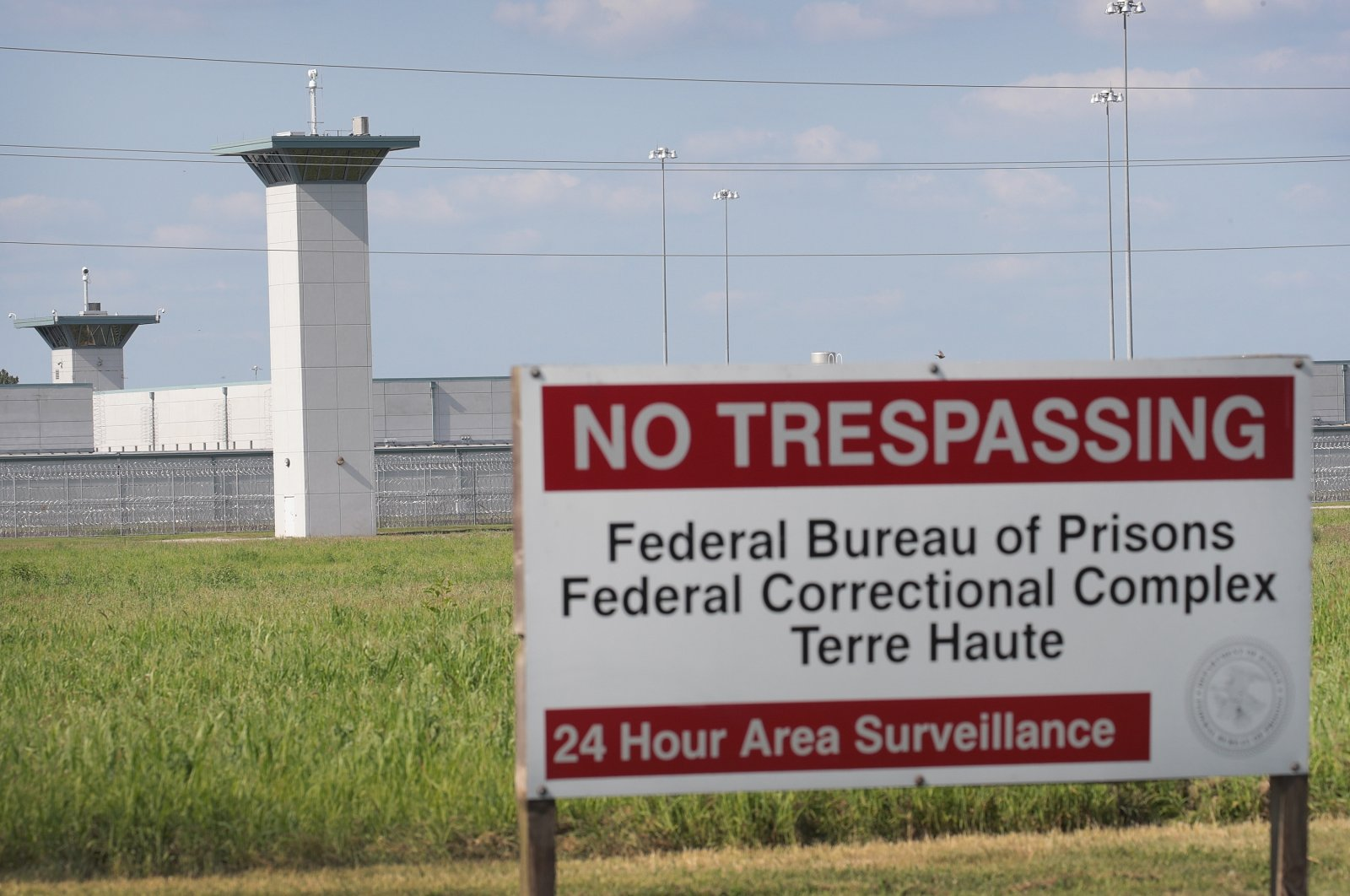 A sign warns trespassers at the Federal Correctional Complex Terre Haute, in Terre Haute, Indiana, July 25, 2019. (AFP Photo)