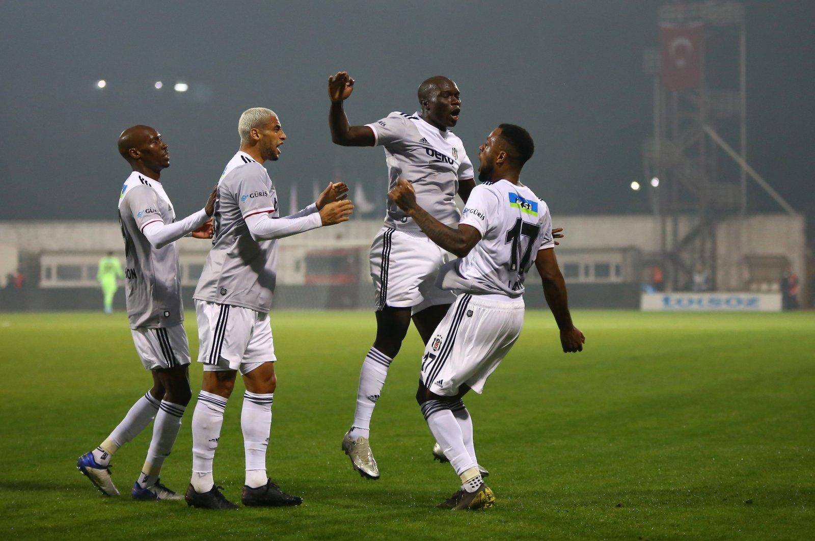 Beşiktaş' Cyle Larin (R) celebrates a goal against Hatayspor in Hatay, southern Turkey, Jan. 10, 2021. (AA Photo)