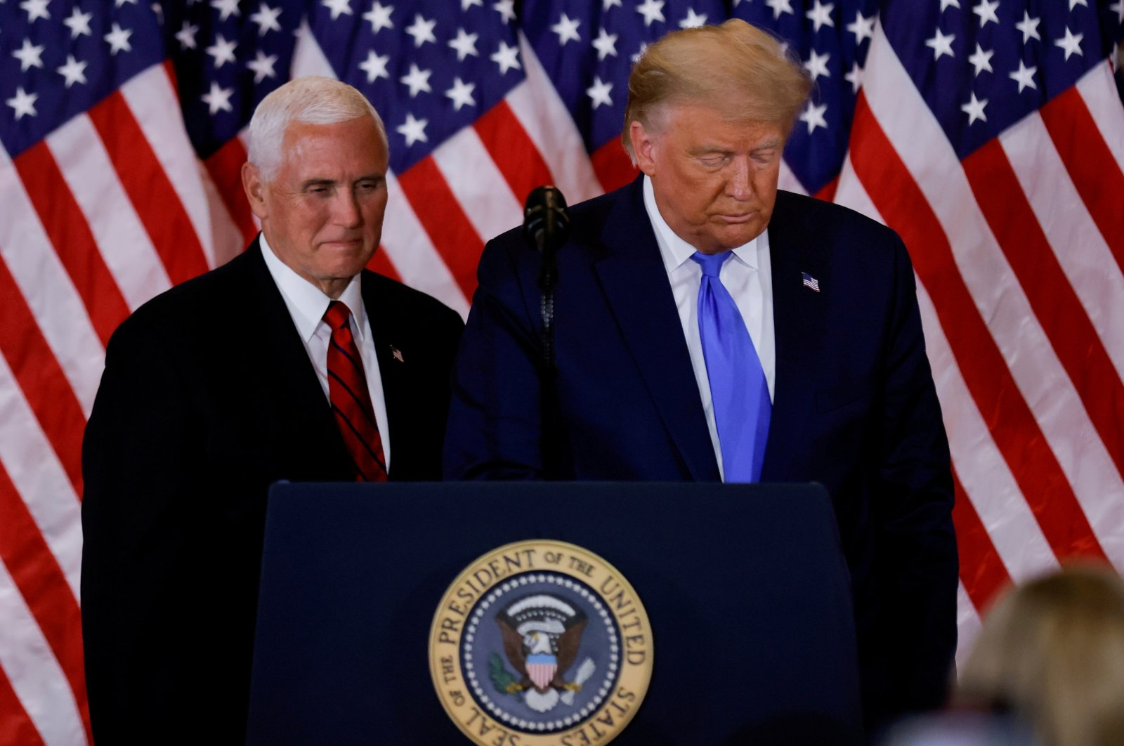 U.S. President Donald Trump and Vice President Mike Pence stand while making remarks about early results from the 2020 U.S. presidential election in the East Room of the White House in Washington, D.C., U.S., Nov. 4, 2020. (Reuters Photo)