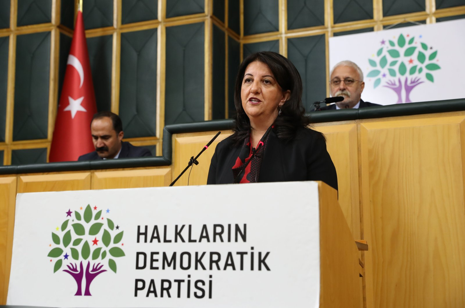 HDP Co-Chair Pervin Buldan speaks at her party's group meeting in Ankara, Turkey, Nov. 15, 2019. (Photo by Ali Ekeyılmaz)