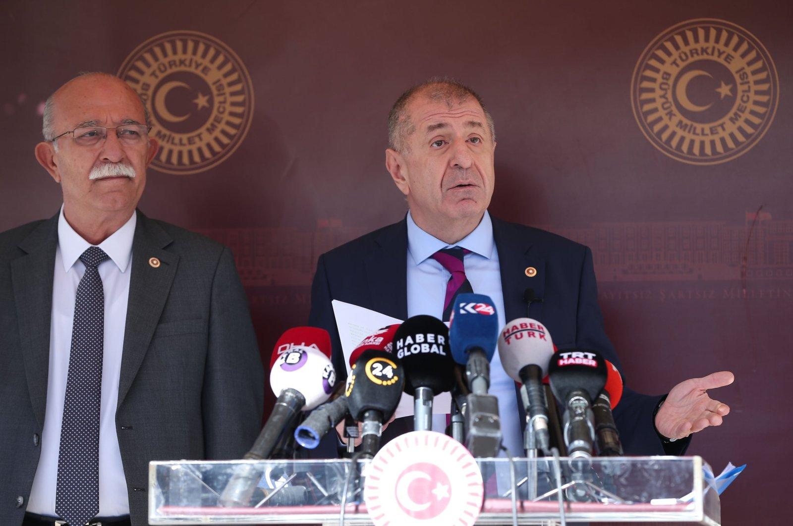 IP Istanbul Deputy Ümit Özdağ, accompanied by Adana deputy İsmail Koncuk, speaks to reporters at a news conference in the capital Ankara on Nov. 11, 2020. (AA Photo)