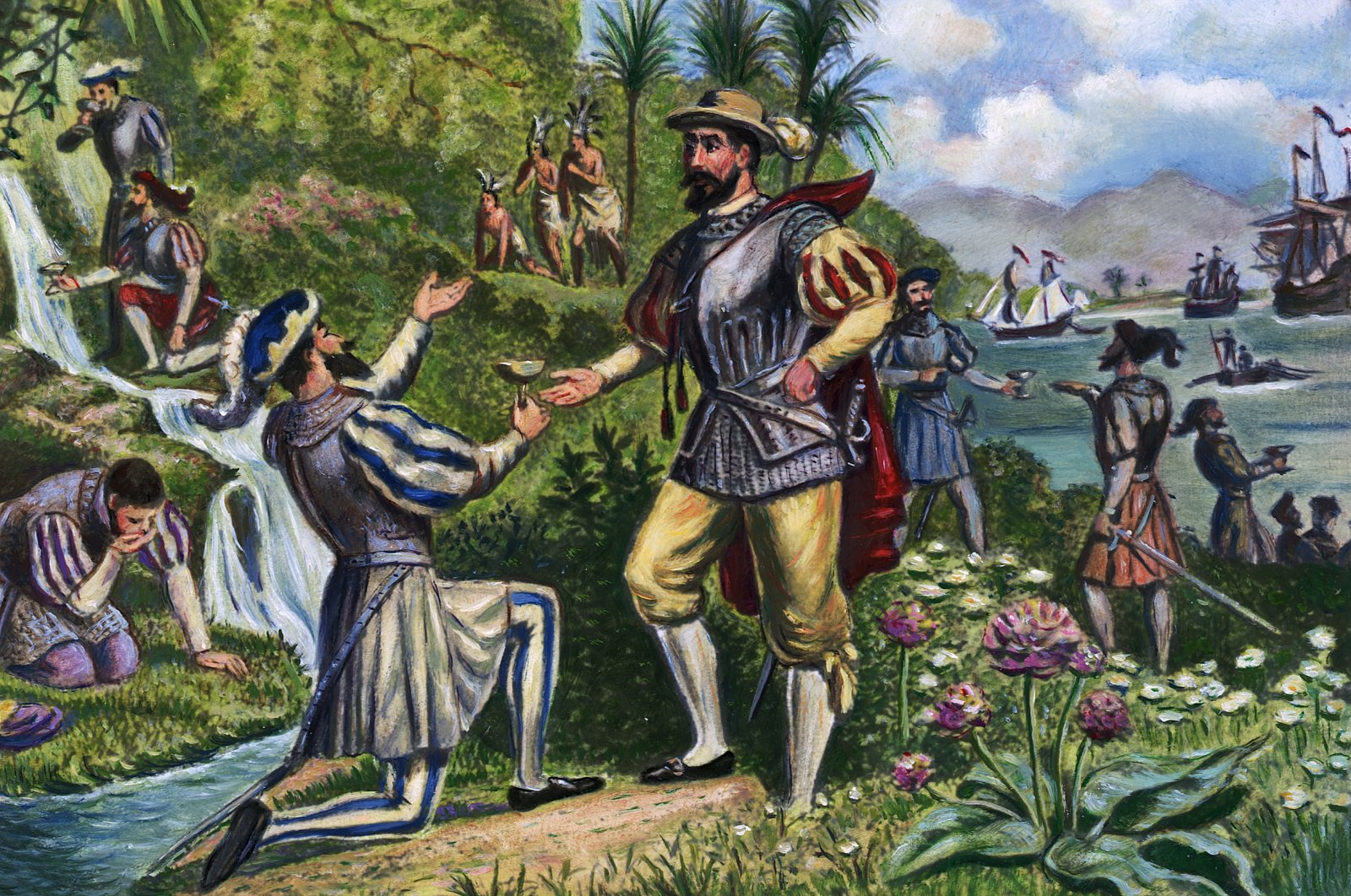 """An illustration shows a scene in which Spanish explorer and conquistador Ponce de Leon is given water from the """"Fountain of Youth."""" (Getty Images)"""