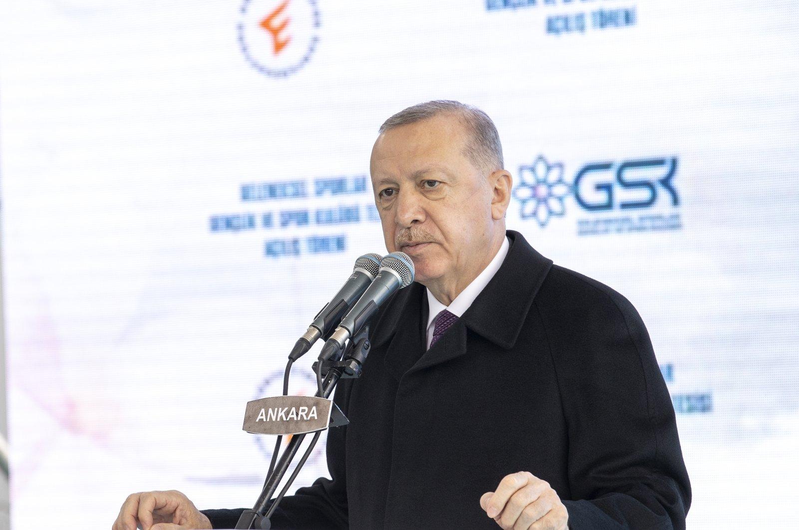 President Recep Tayyip Erdoğan speaks at a sports complex opening ceremony in the capital Ankara, Jan. 12, 2021. (AA Photo)