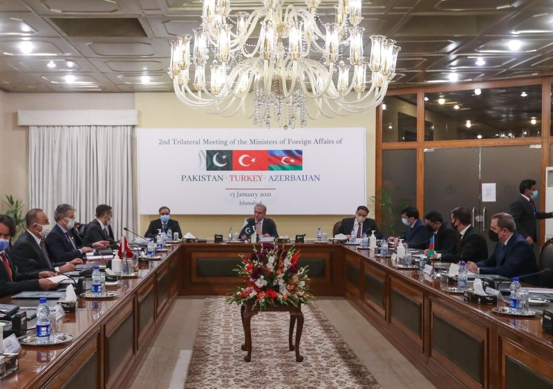 Trilateral meeting attended by the foreign ministers of Turkey, Pakistan and Azerbaijan in the Pakistani capital Islamabad on Wednesday, Jan. 13, 2020 (AA Photo)