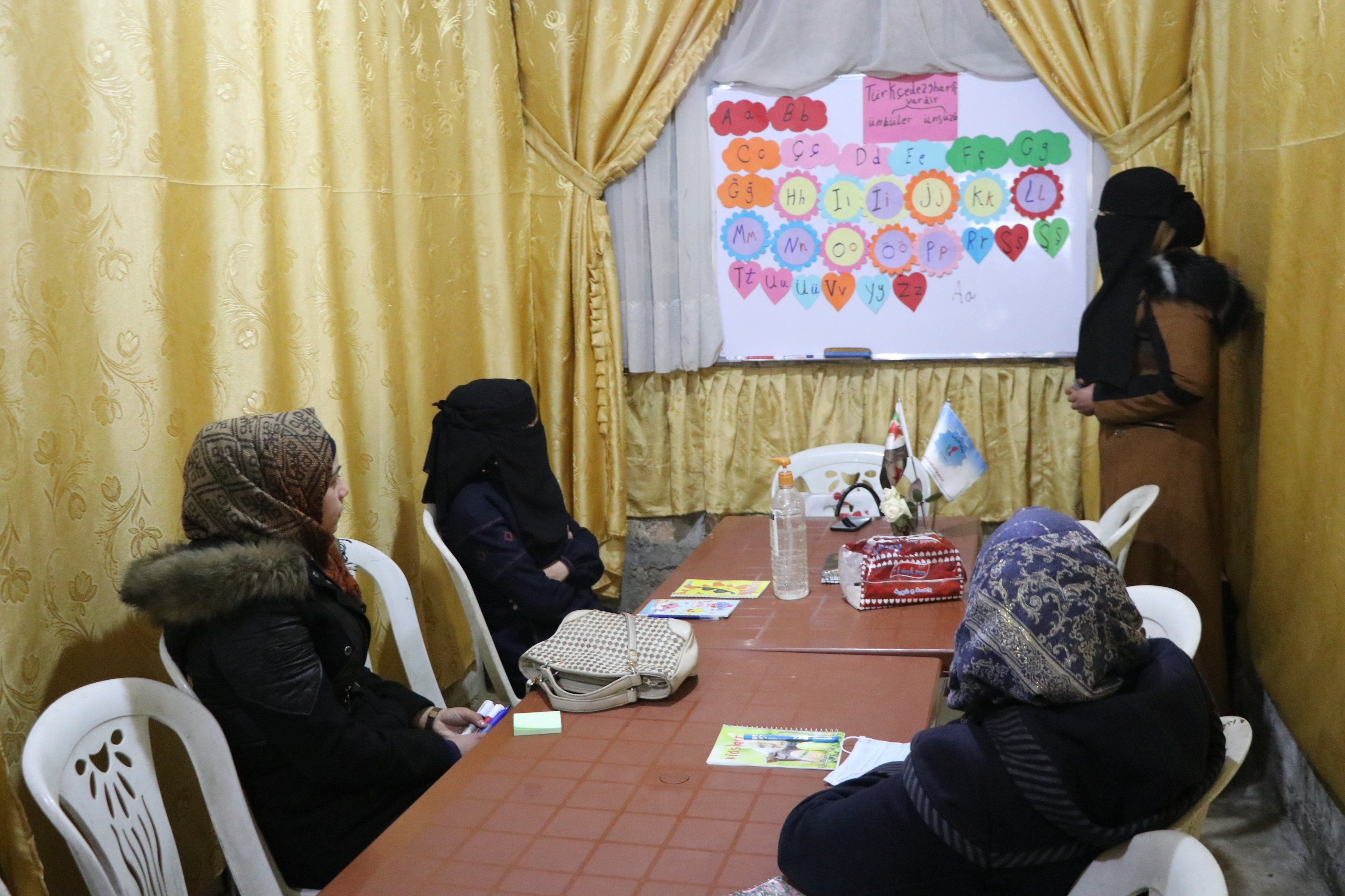 Syrian women receive Turkish lessons in the Al-Irade Course Center in Idlib, Syria, Jan. 14, 2021. (IHA)