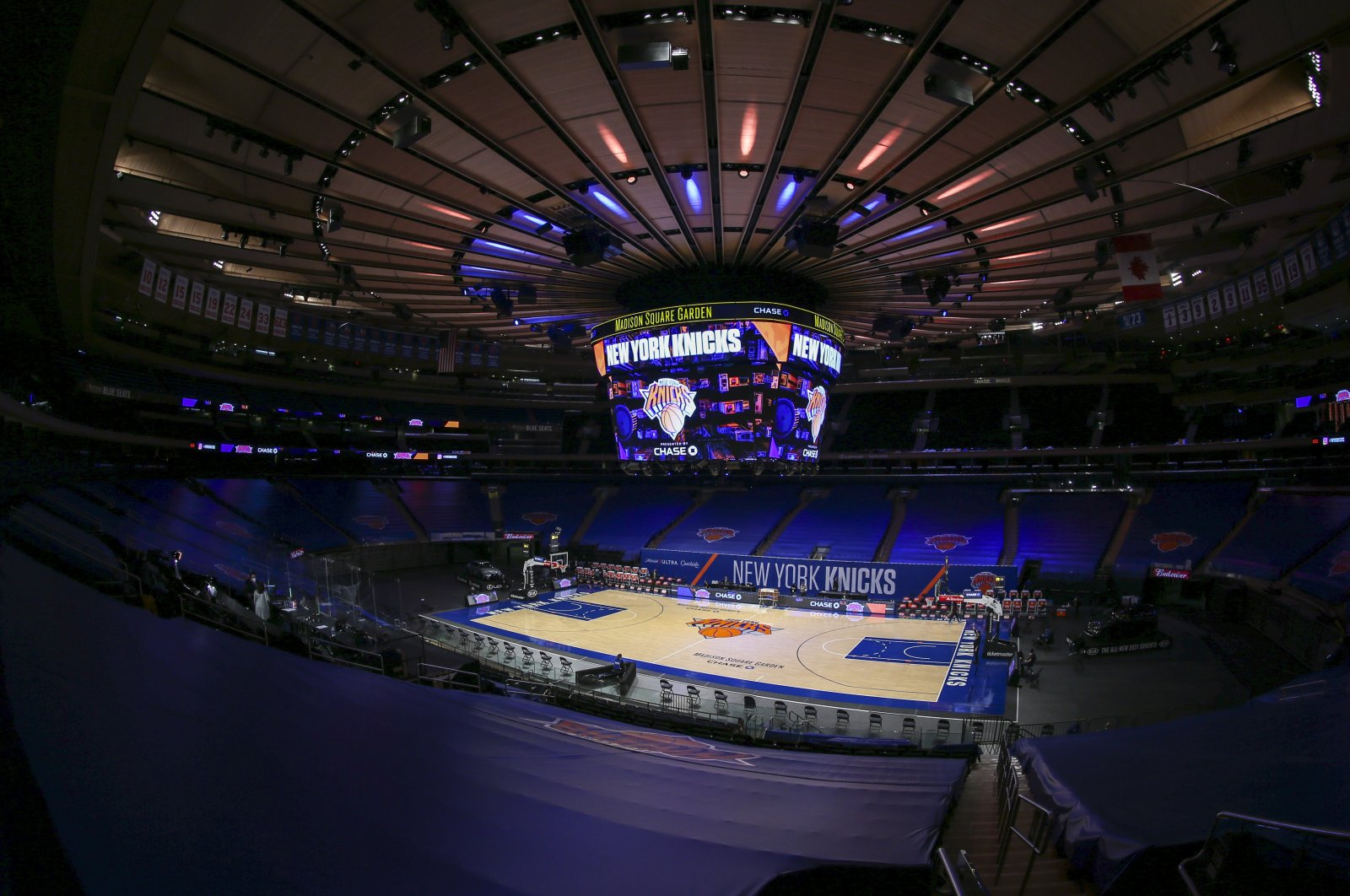 A general view of Madison Square Garden without the fans ahead of an NBA game between the Utah Jazz and the New York Knicks, in New York City, New York, U.S., Jan. 6, 2021. (AP Photos)