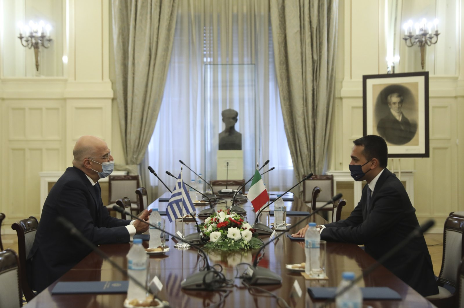 Greek Foreign Minister Nikos Dendias (L) meets with his Italian counterpart Luigi Di Maio at the Foreign Ministry in Athens, Greece, June 9, 2020. (AP File Photo)