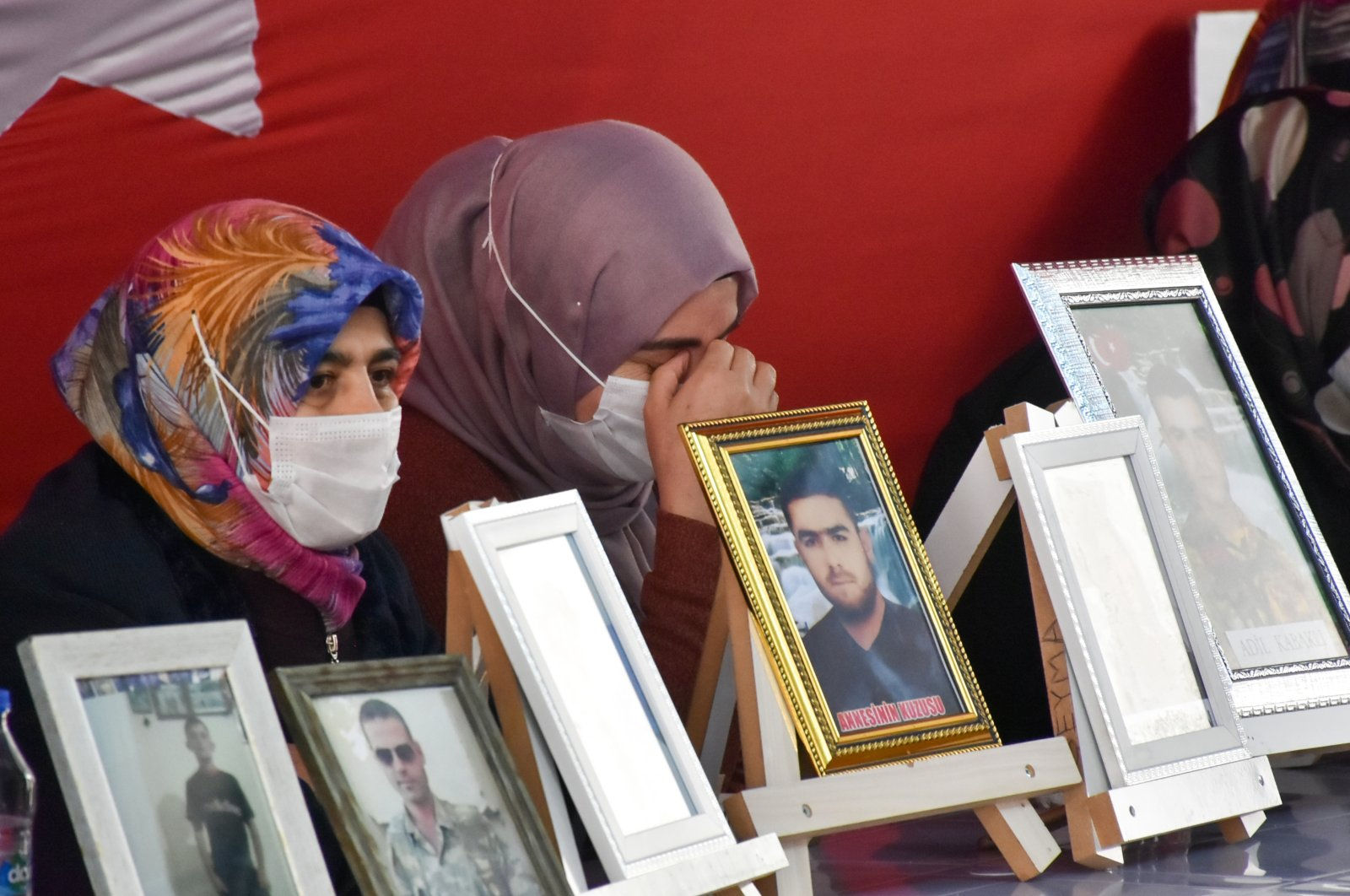 Families protesting the abduction of their relatives by the PKK continue their sit-in for the 500th day, Diyarbakır, southeastern Turkey, Jan. 14, 2021. (AA Photo)